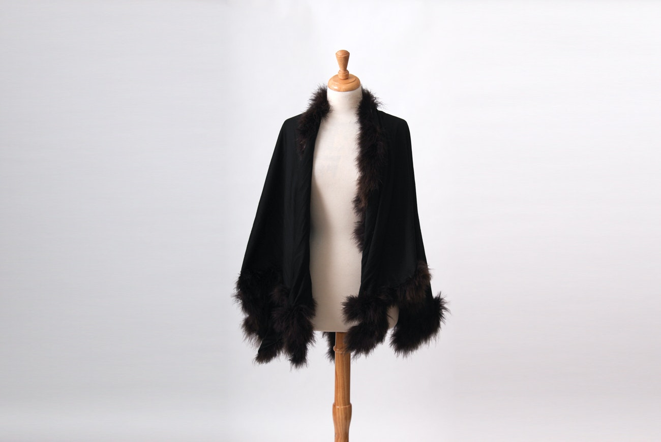 Black Wool Cape Trimmed in Black Ostrich Feathers
