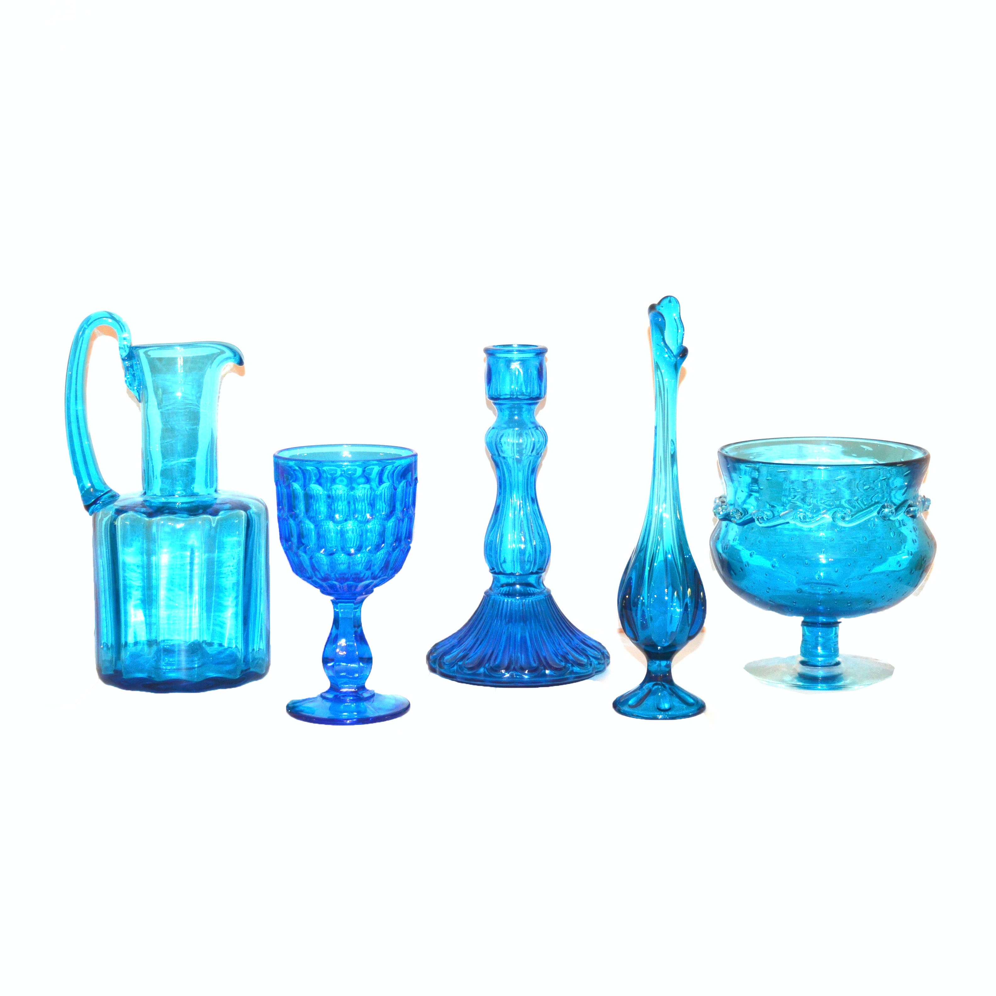 Blue Glassware and Hand-Blown Dishes