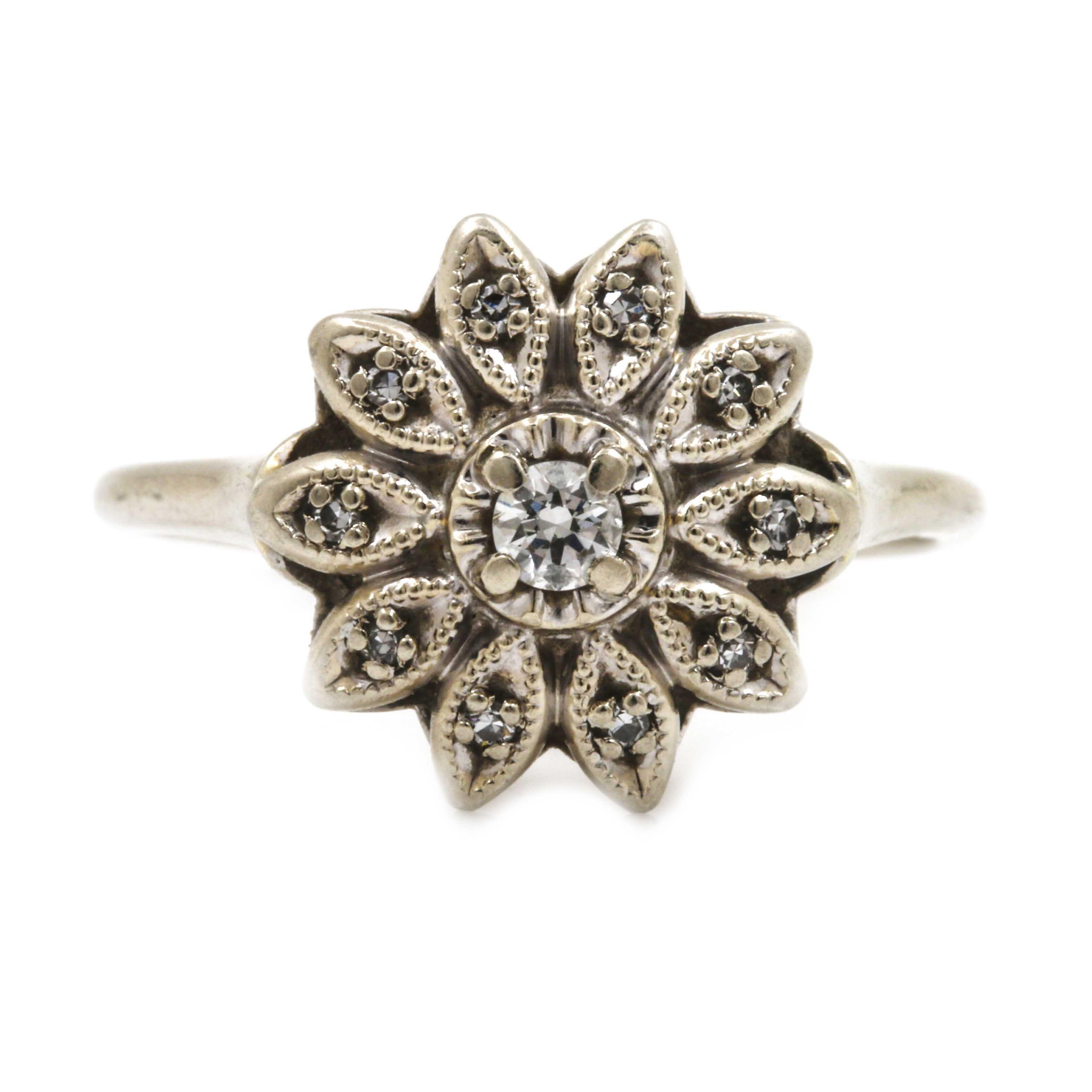 14K White Gold Diamond Floral Ring