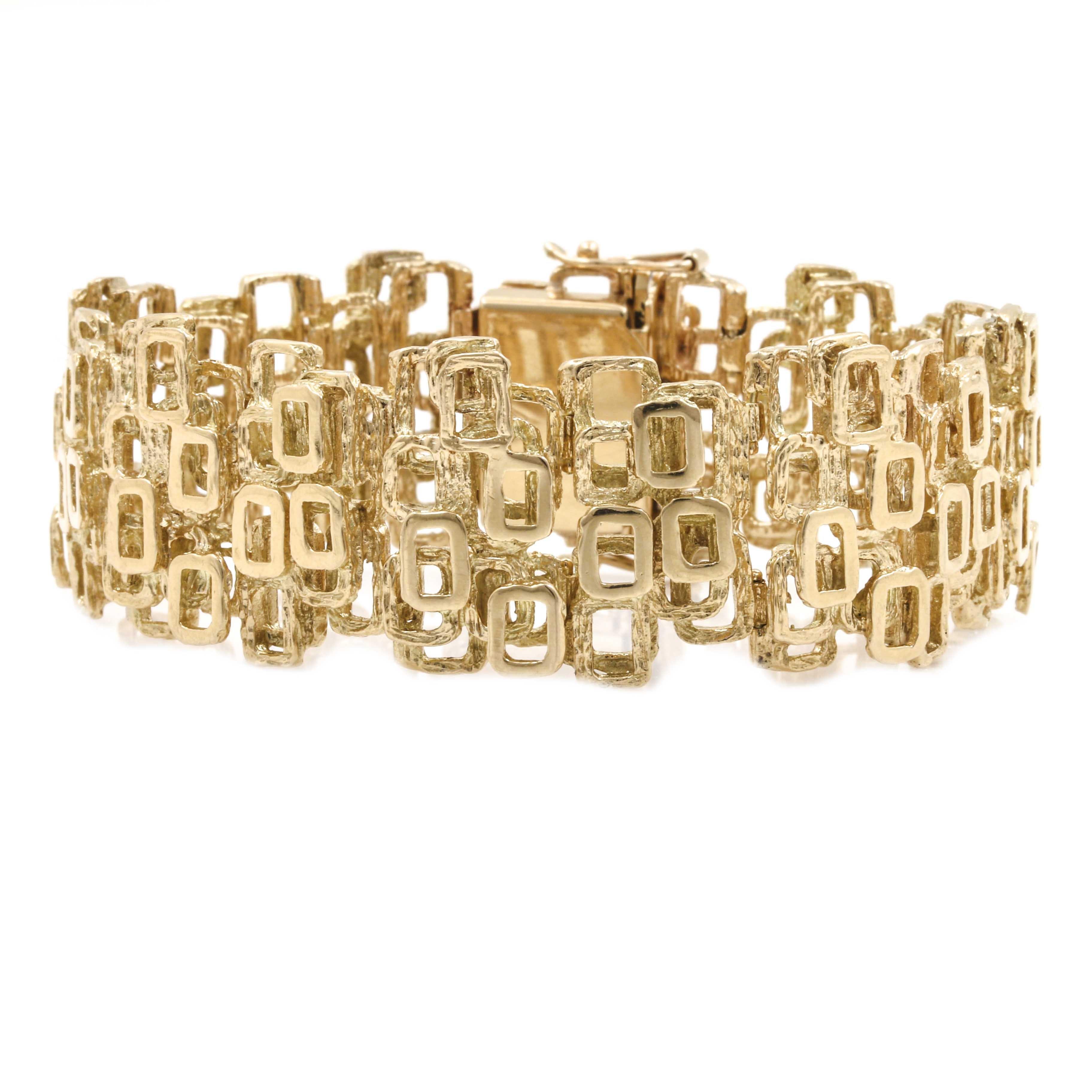 14K Yellow Gold Geometric Hinged Link Bracelet