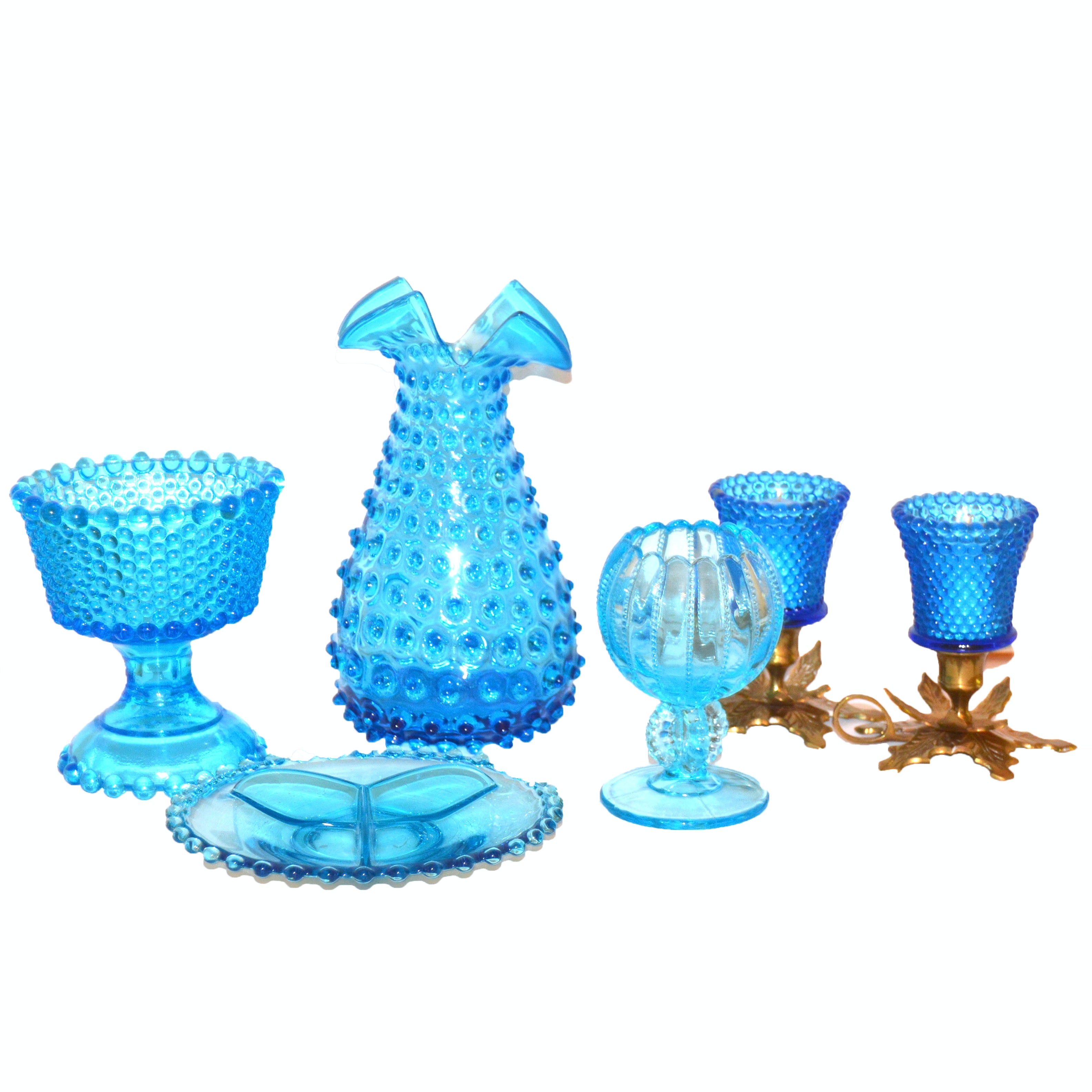 Collection of Hobnail and Vintage Hand-Blown Tableware including Indiana Glass