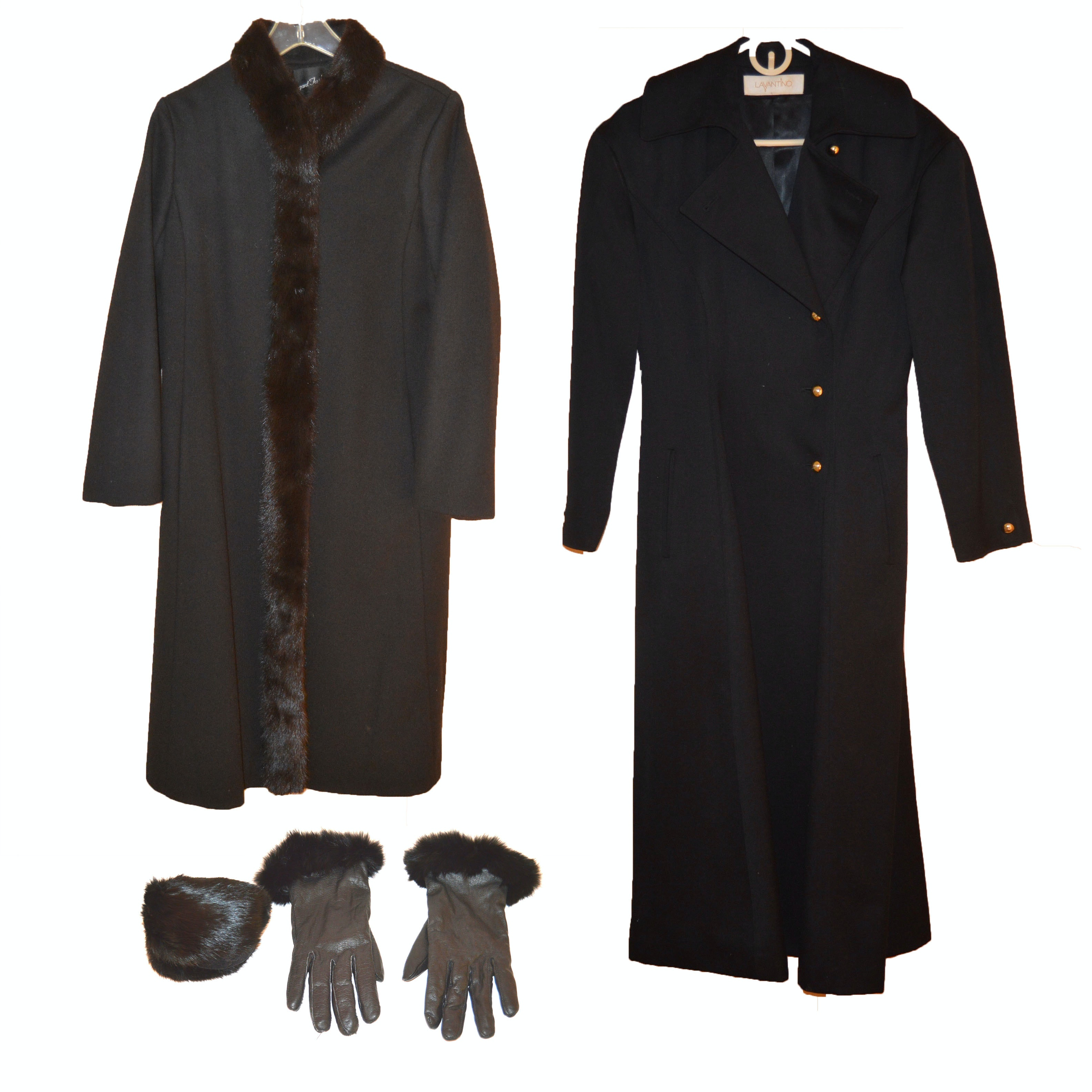Pair of Trench Coats, One with Mink Trim and Rabbit Fur Accessories