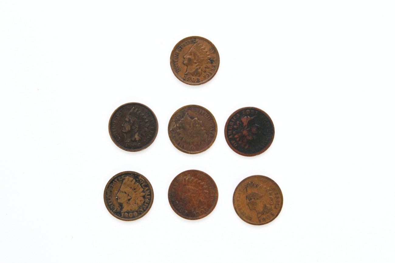 Seven Antique U.S. Indian Head Copper Pennies