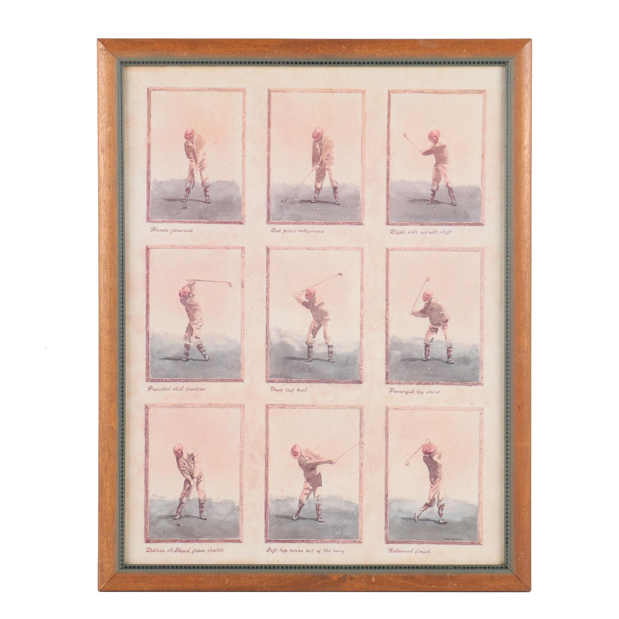 "Offset Lithograph After David Nichols ""Golf Swing Progression"""