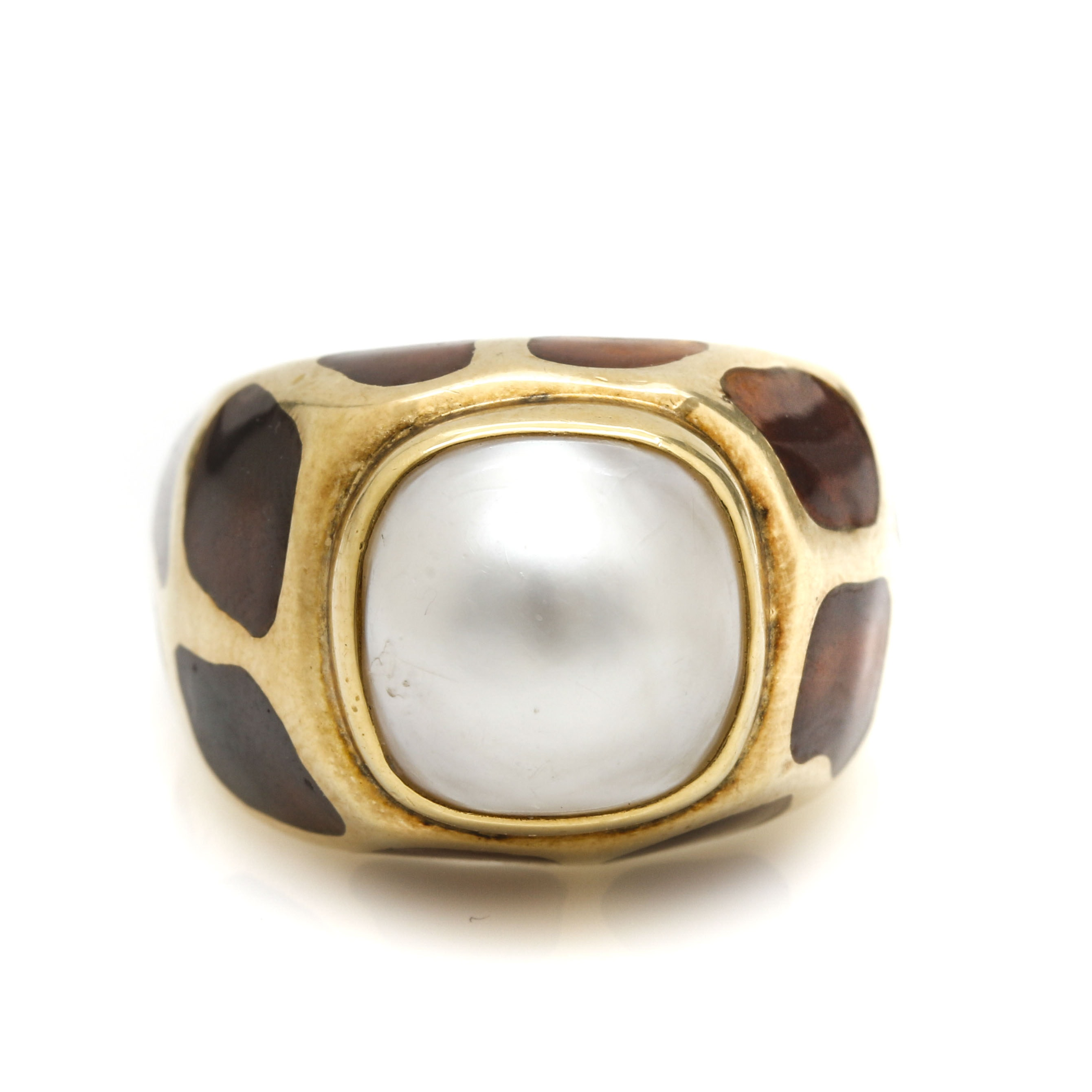 14K Yellow Gold Mabe Pearl and Enamel Ring