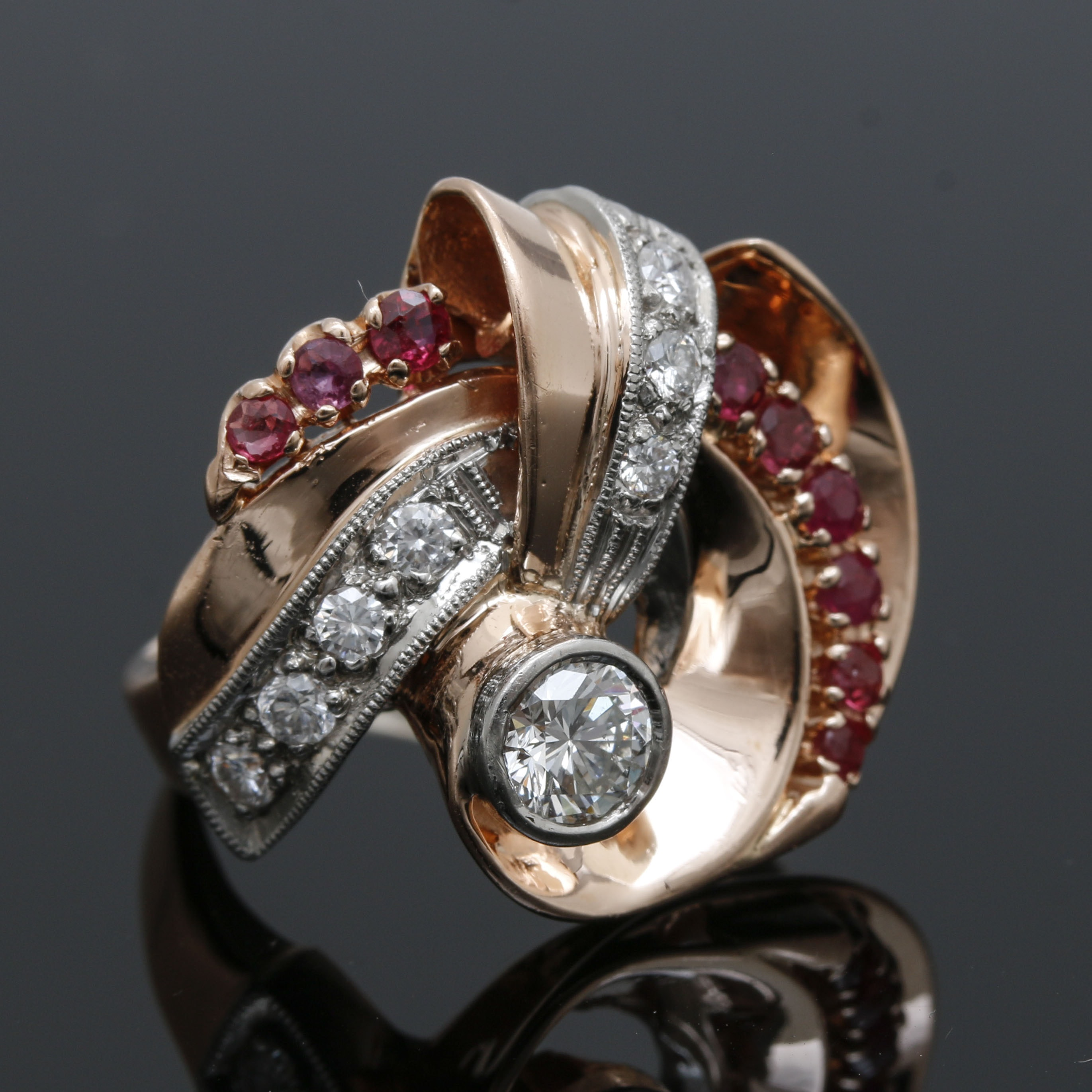 14K Rose Gold Diamond and Ruby Ring with White Gold Accents
