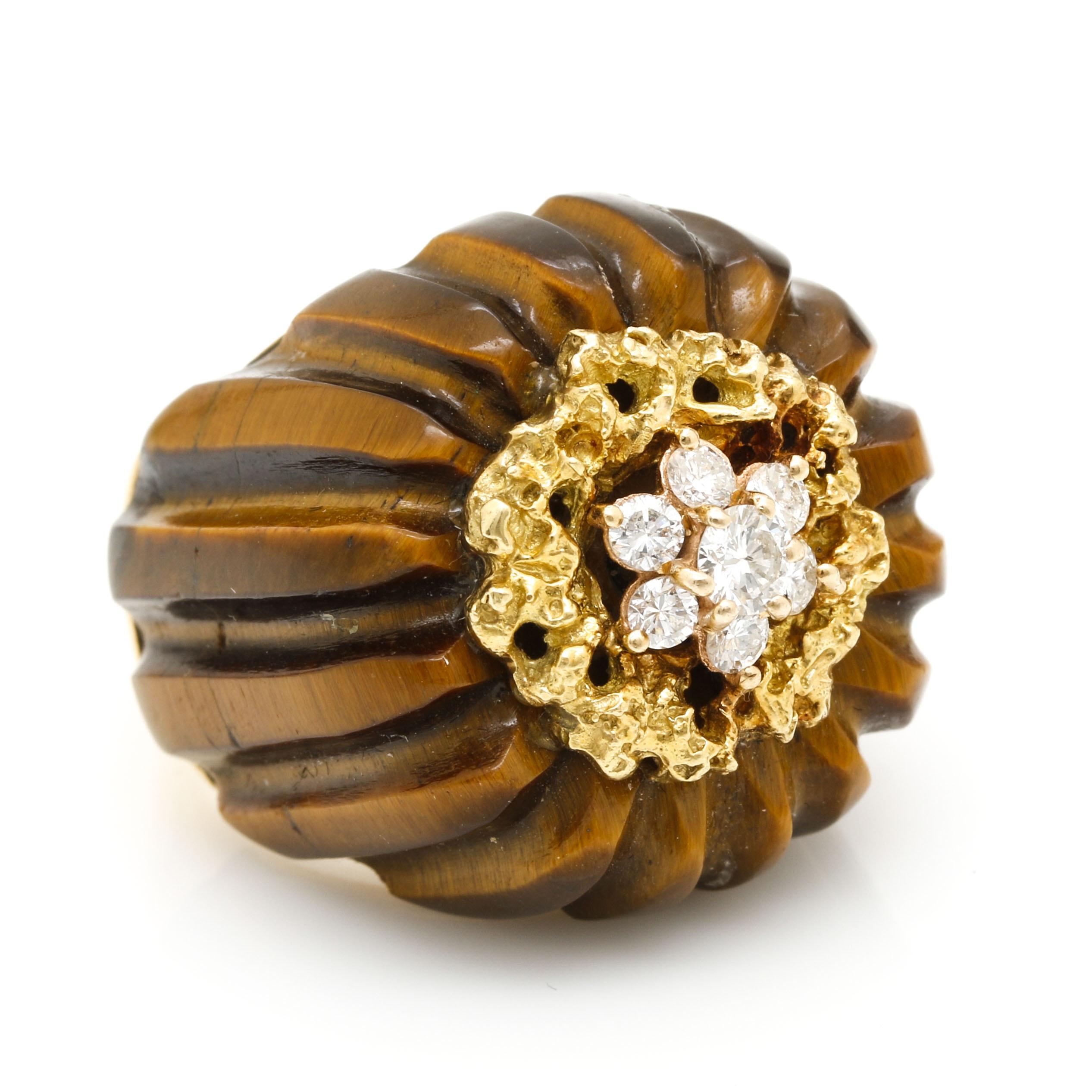 Vintage 18K Yellow Gold Tiger's Eye and Diamond Ring