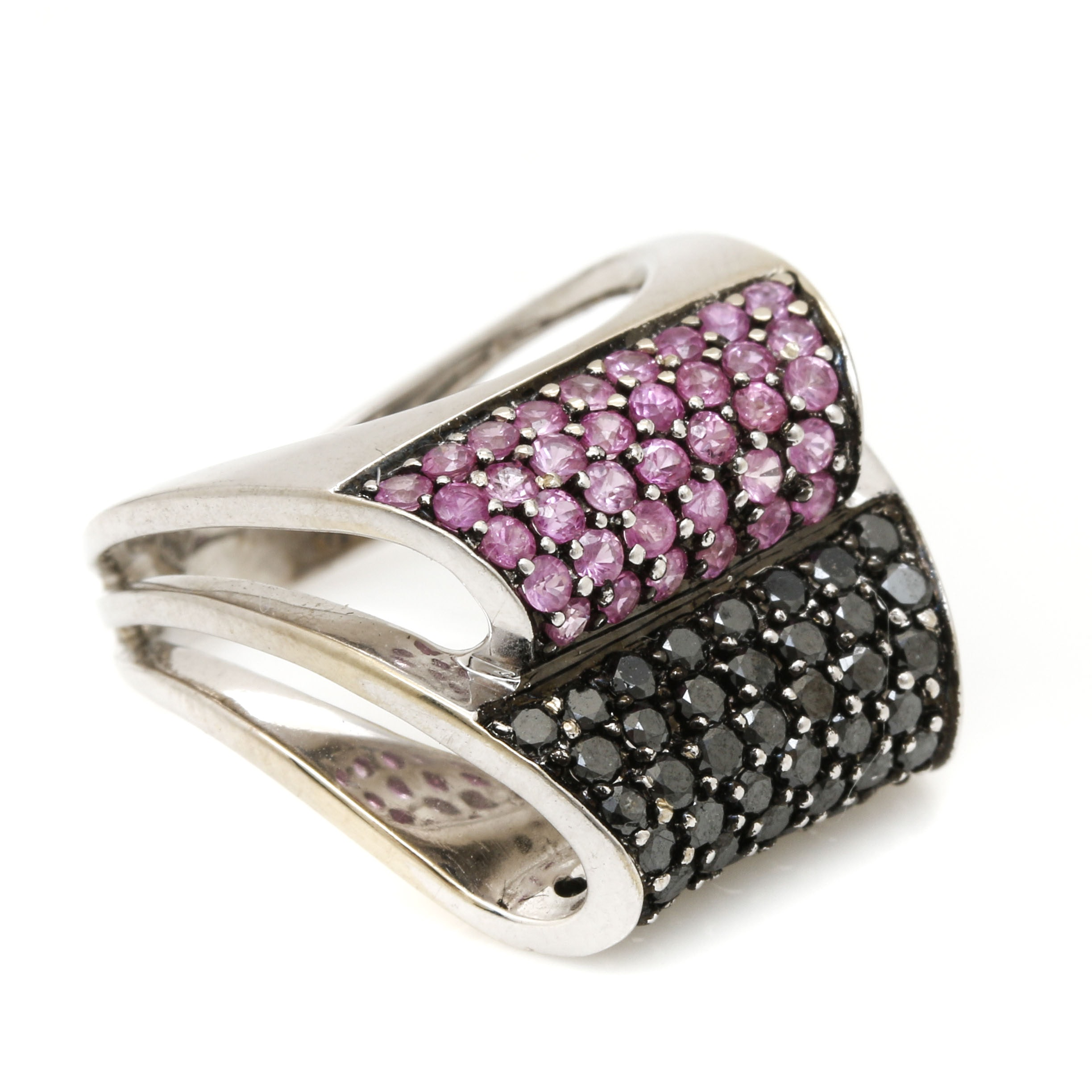 18K White Gold Pink Sapphire and Black Diamond
