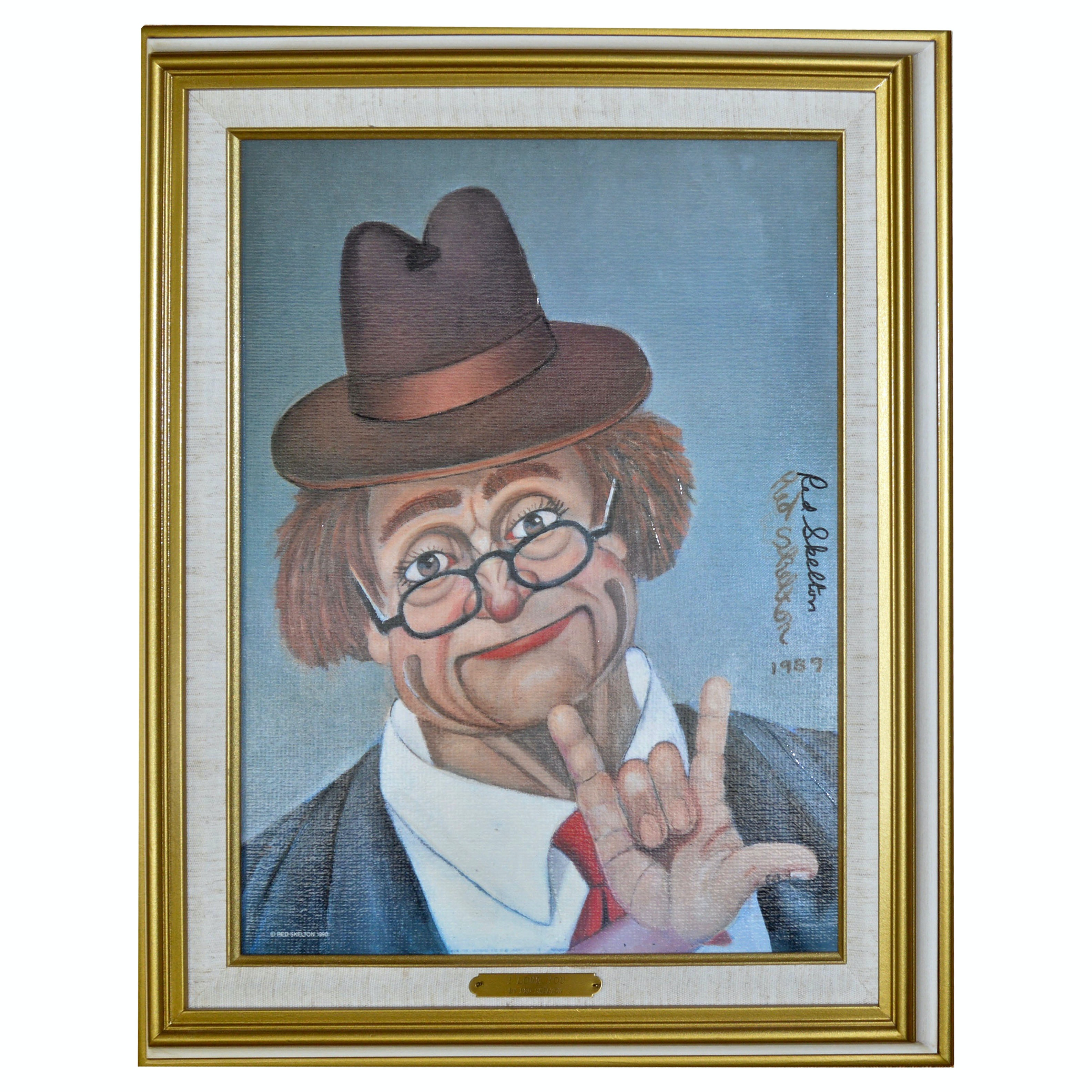 """Signed Red Skelton """"I Love You"""" Offset Lithograph"""