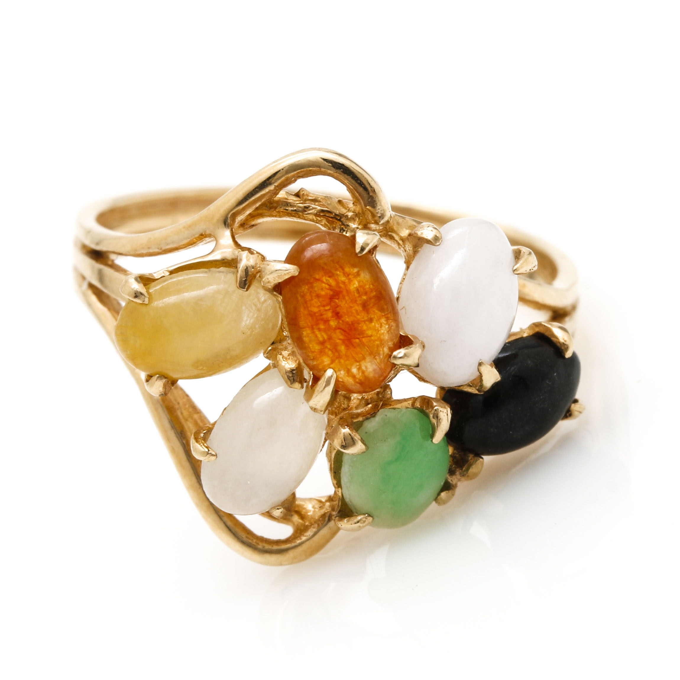 14K Yellow Gold Jadeite and Black Onyx Cluster Ring