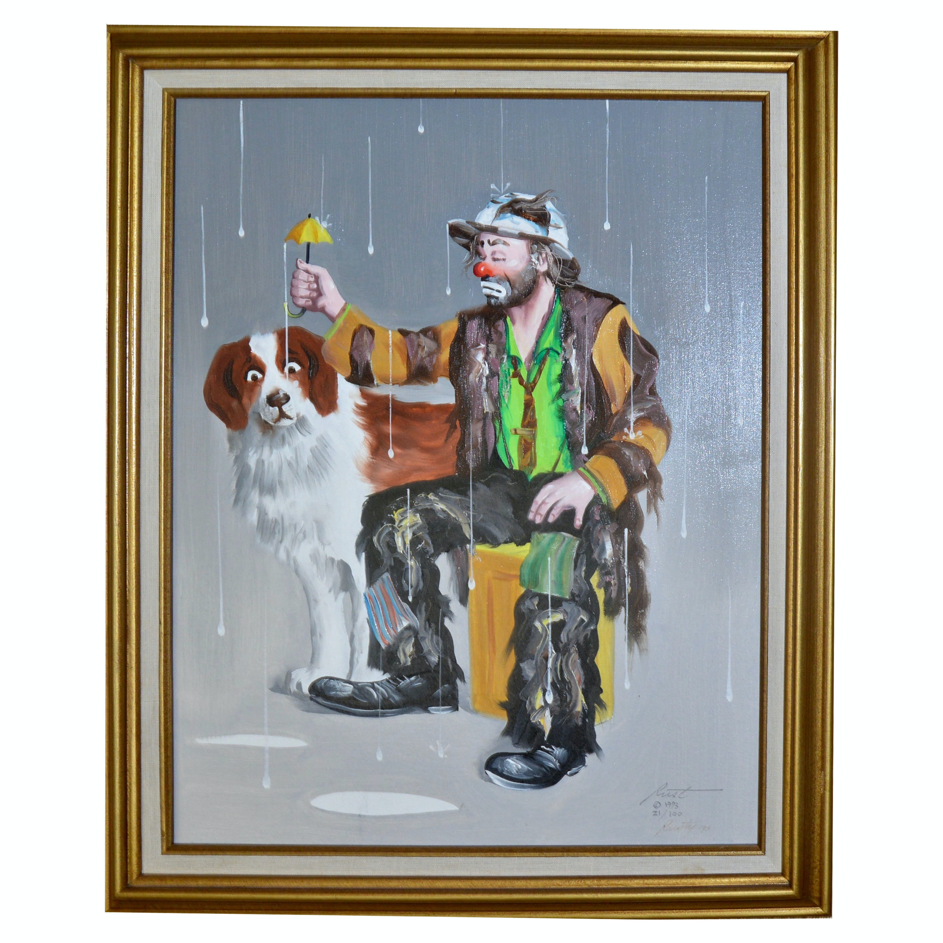 Limited Edition Offset Lithograph of Emmett Kelly by Artist Donald L. Rust