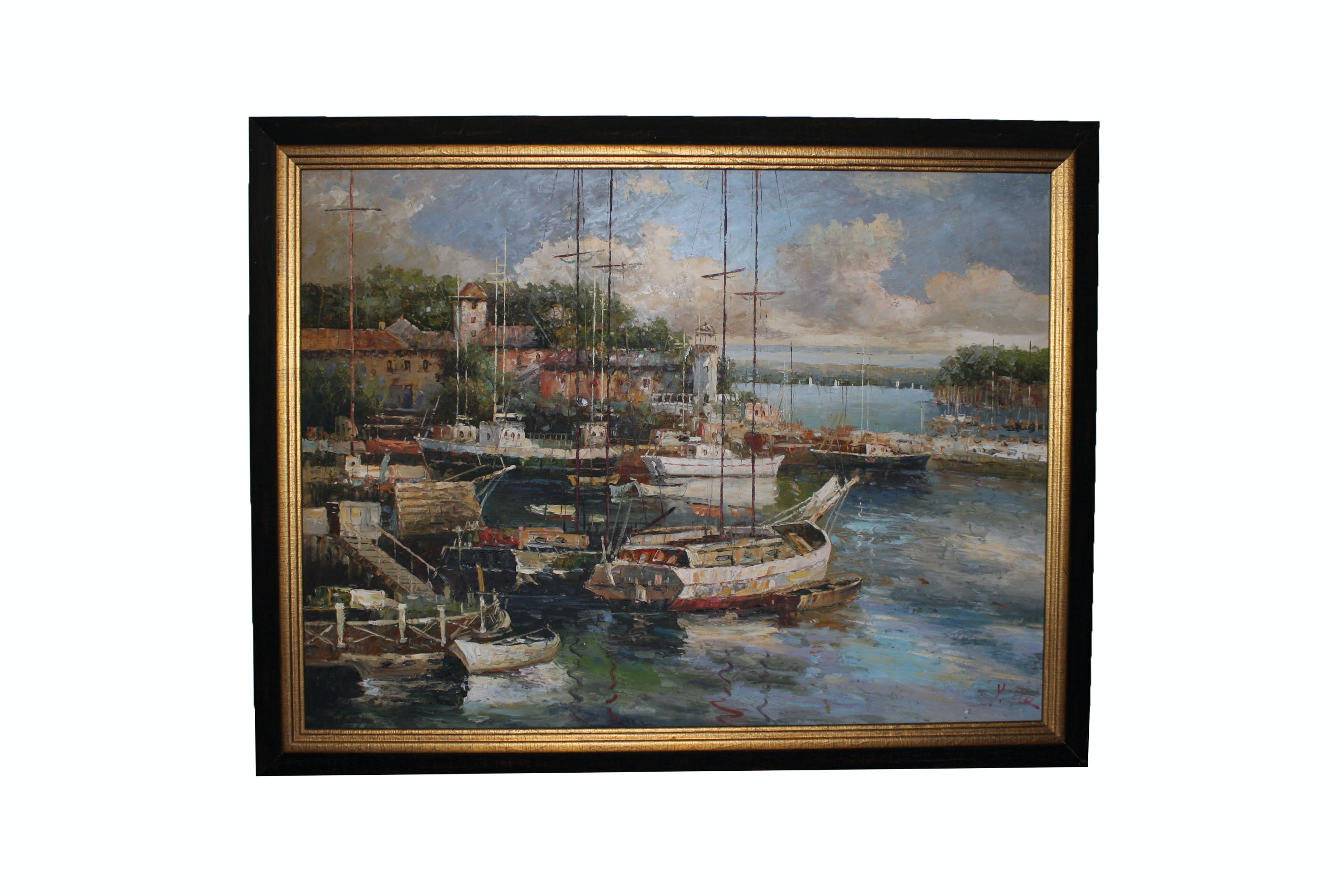 Y. Fie Acrylic Painting of a Harbor