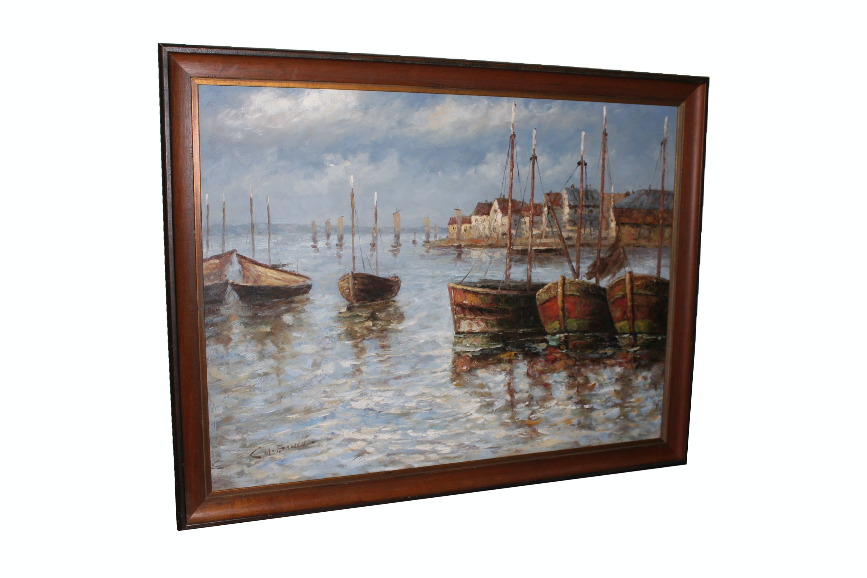 C.M. Baney Oil Painting of a Dock Scene