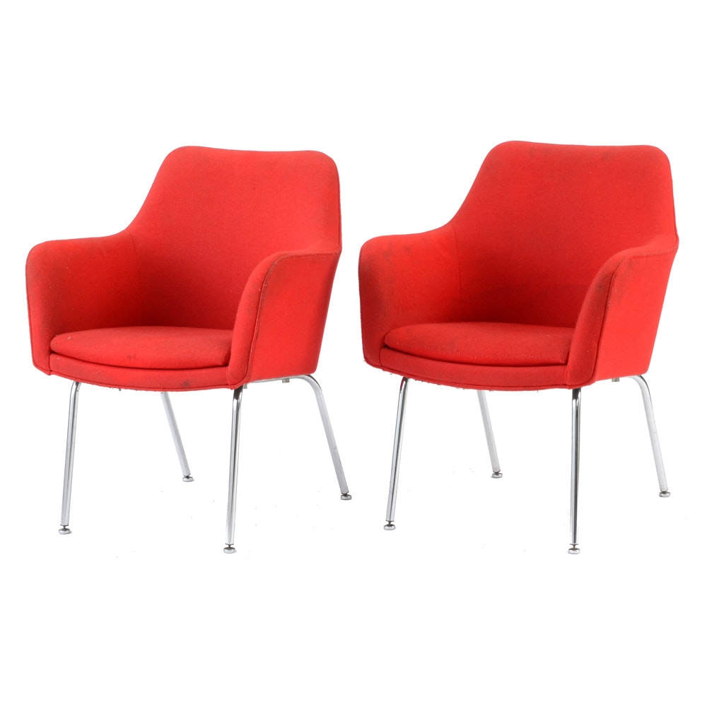 Pair of Two Vintage Red Upholstered Mid Century Modern