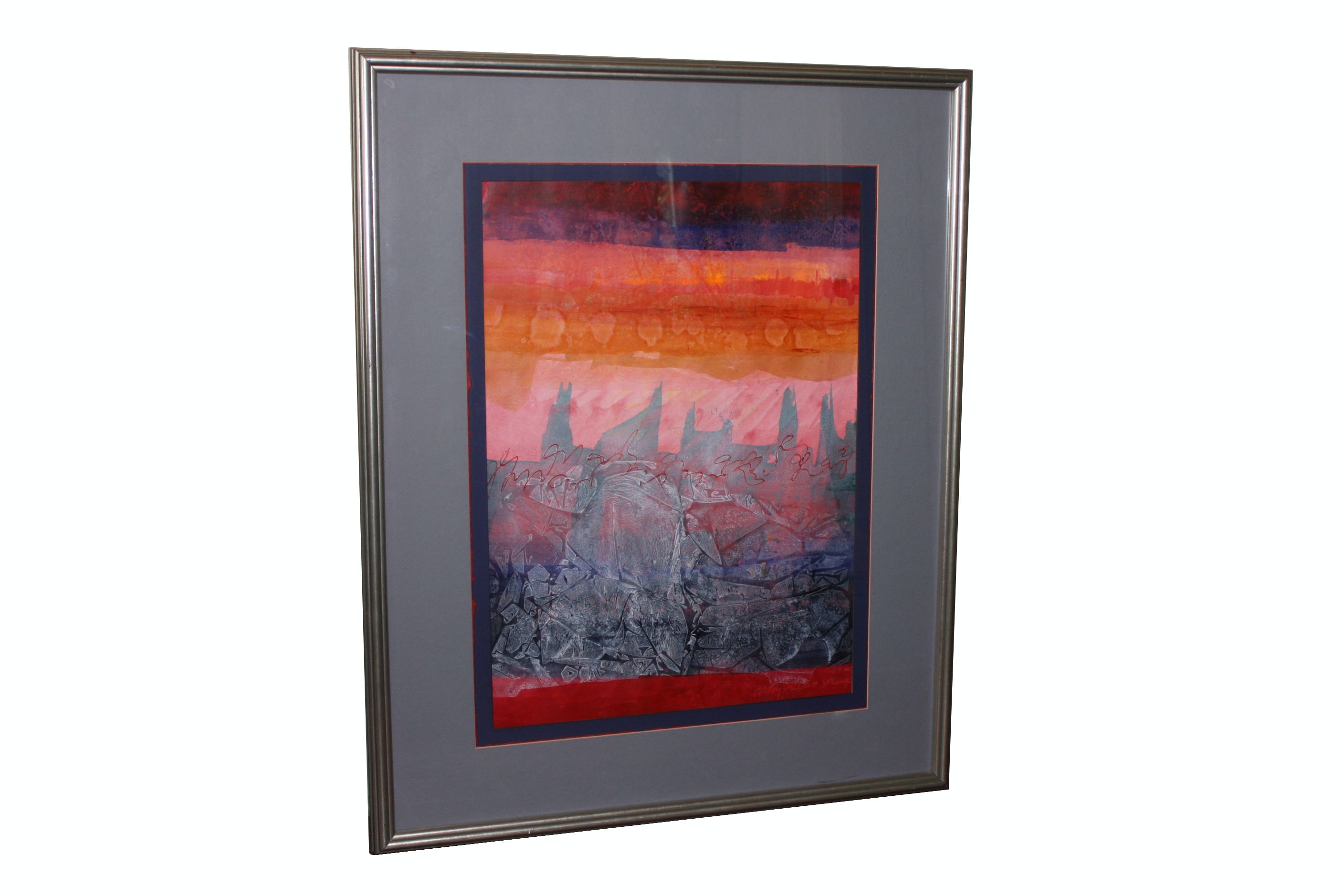 Embellished Offset Lithograph on Paper of Abstract Desert Landscape