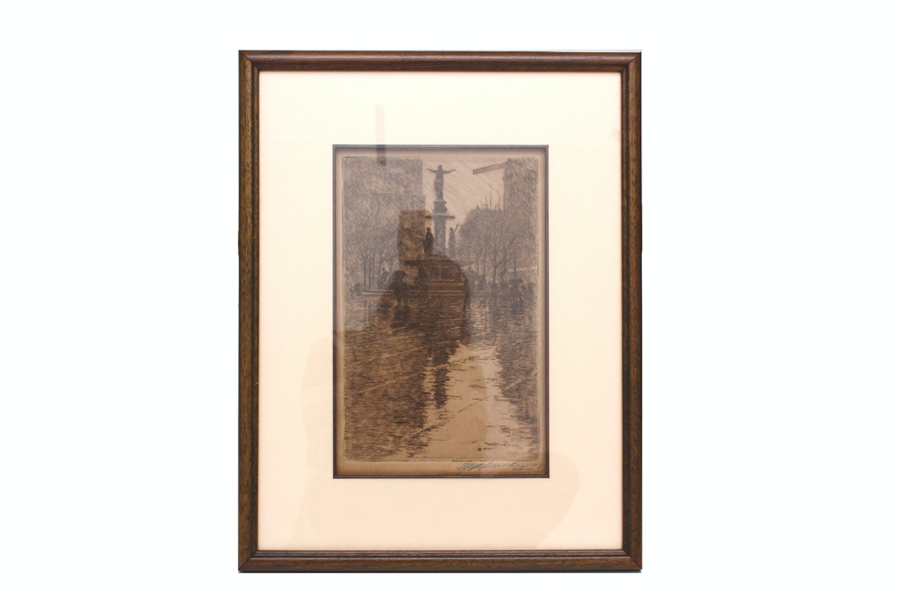Antique E.T. Hurley Etching of Fountain Square
