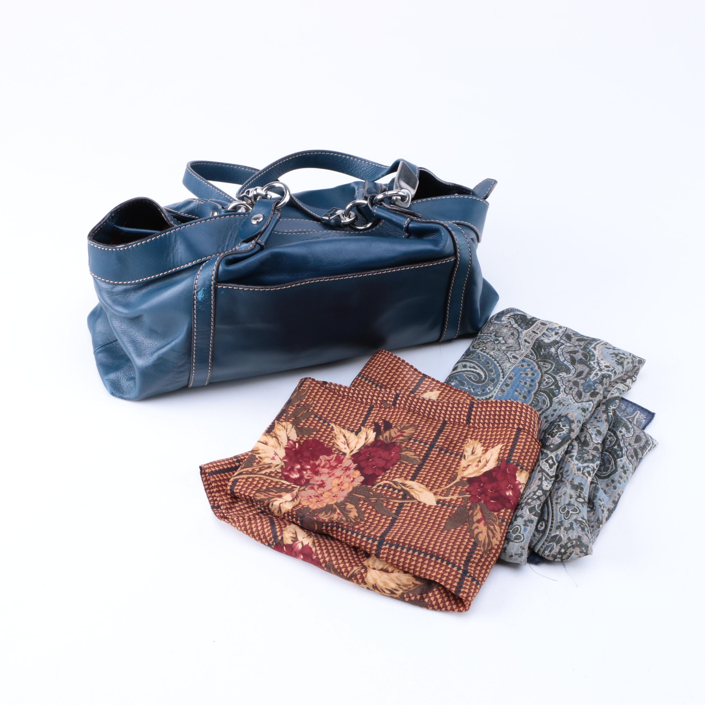Hogan Handbag with Printed Ralph Lauren Scarves