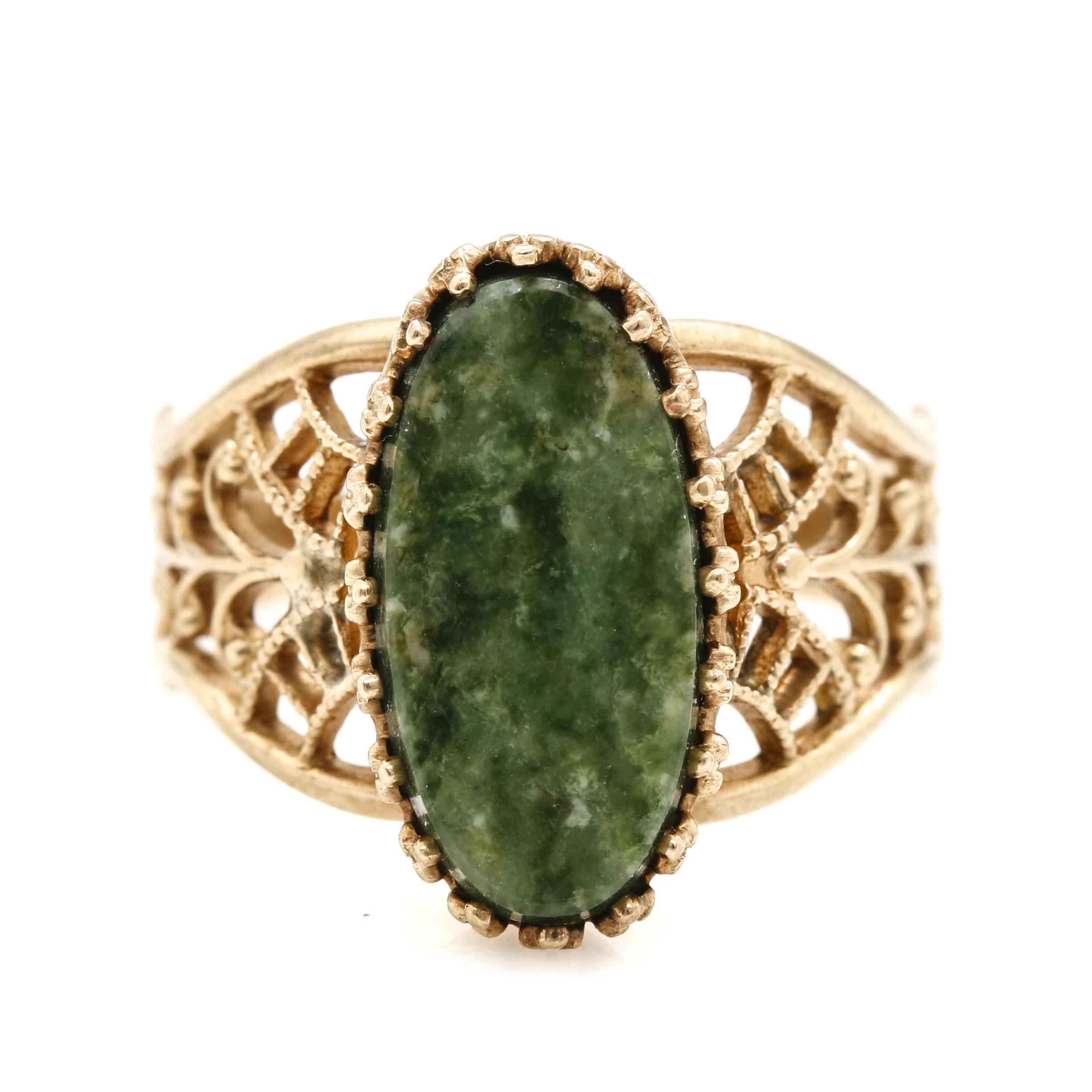 10K Yellow Gold Serpentine Foliate Ring