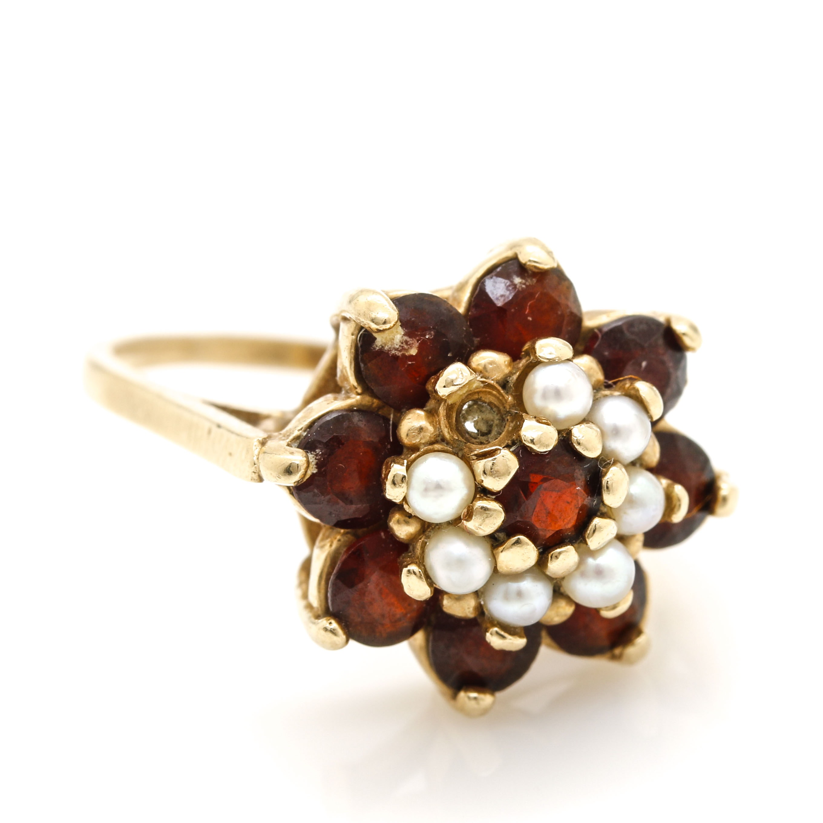 14K Yellow Gold Garnet and Cultured Pearl Floral Ring
