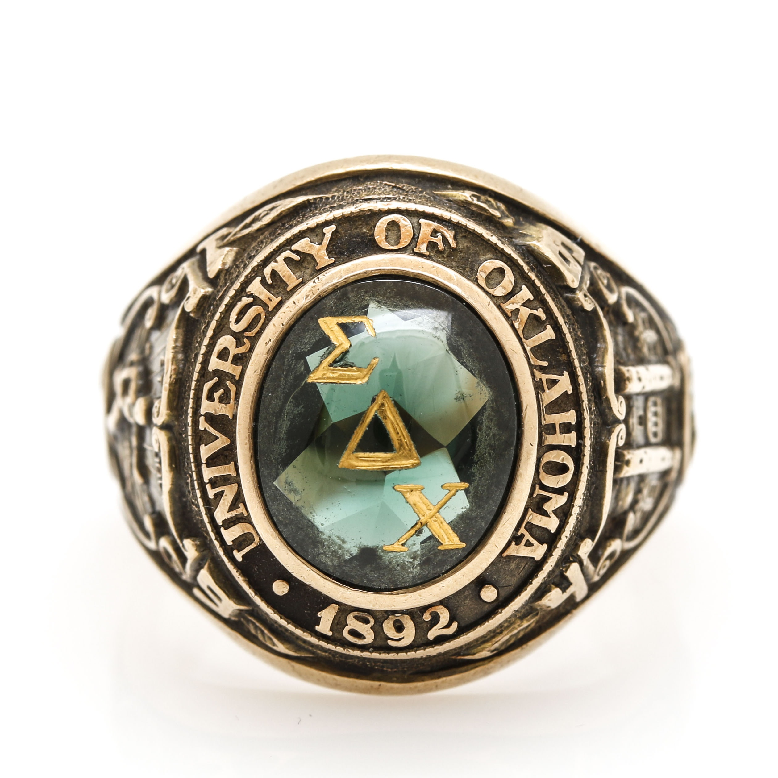 10K Yellow Gold Green Spinel Fraternity Class Ring