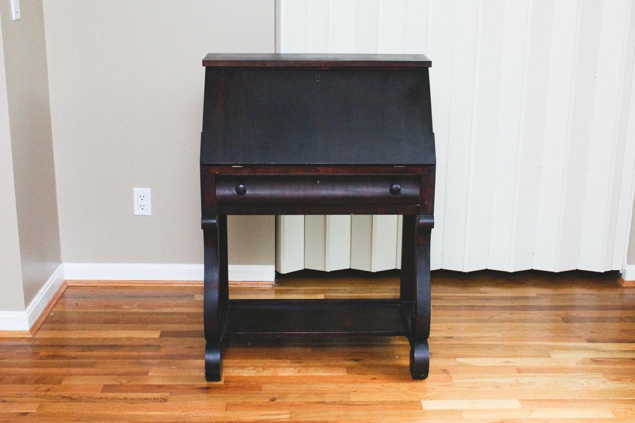 Dark Wood Drop-Lid Writing Desk