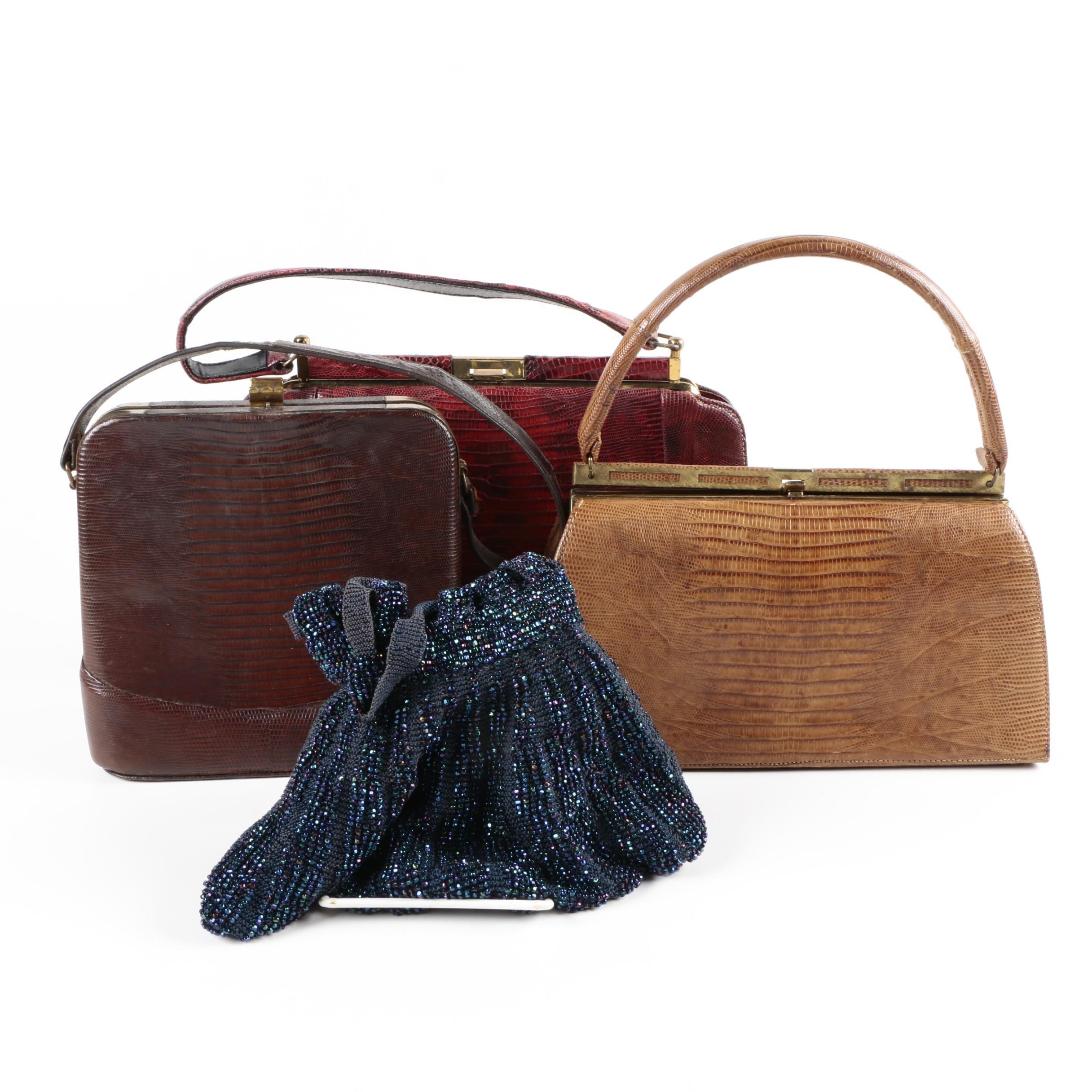 Vintage Lizard Skin and Beaded Handbags Including Bellestone