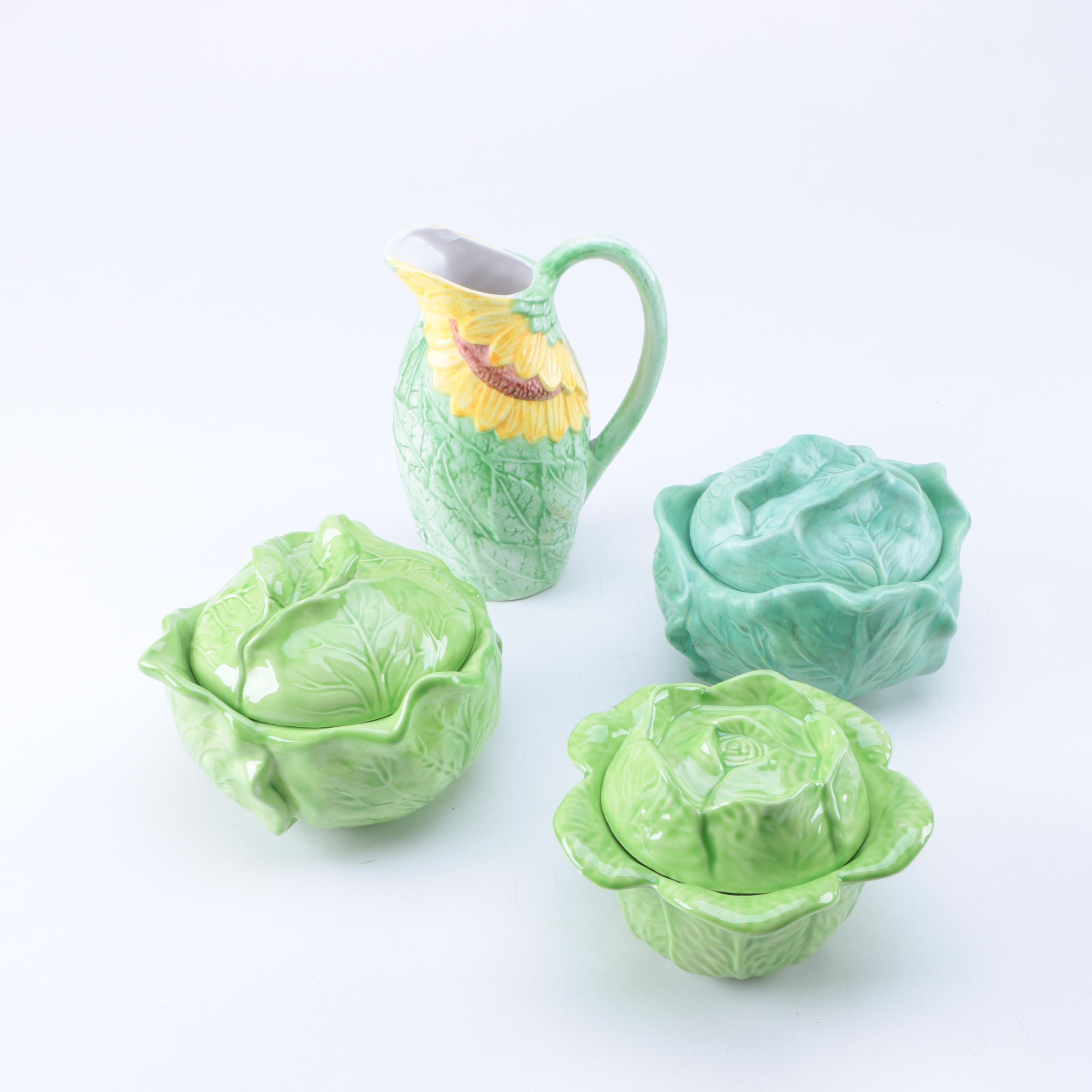 """Sunflower"" Pitcher and Cabbage Shaped Bowls"
