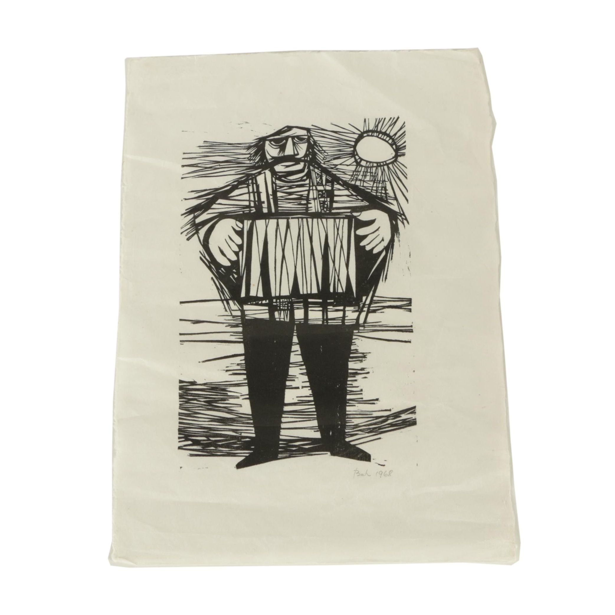 Bah Vintage Relief Print on Paper of a Figure with a Drum