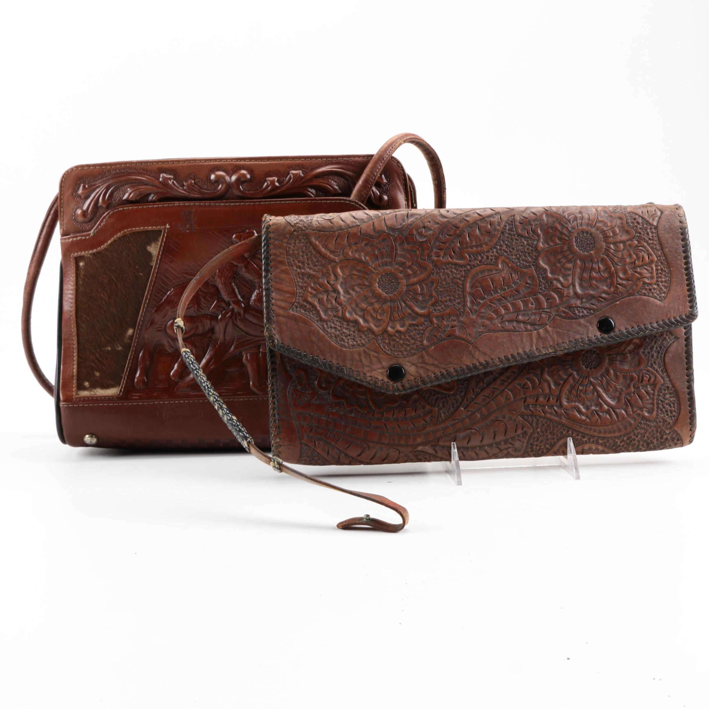 Vintage Tooled Brown Leather Handbags
