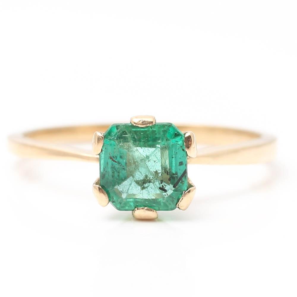 14K Yellow Gold Emerald Six-Prong Set Ring