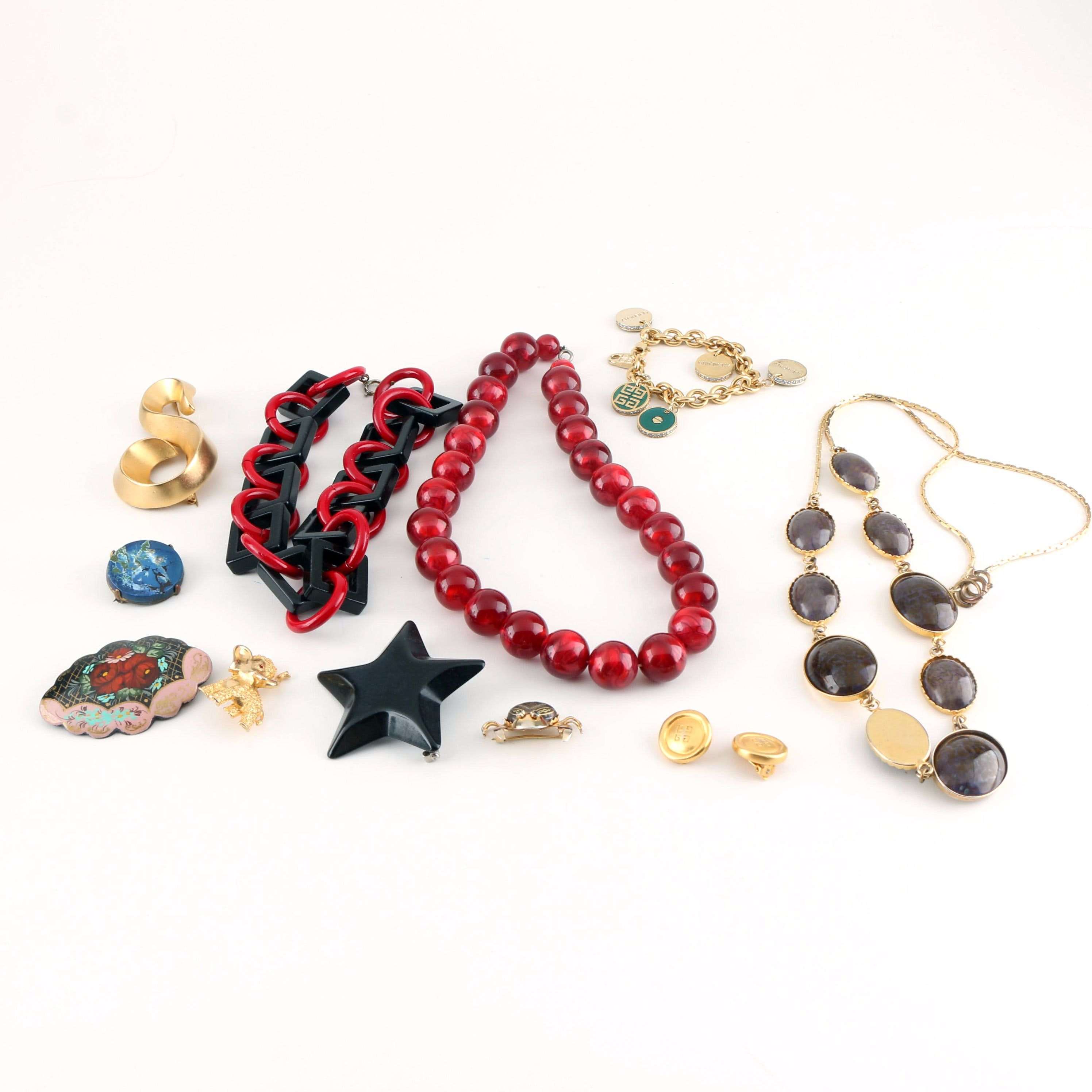 Assortment of Costume Jewelry Including Valentino and Givenchy