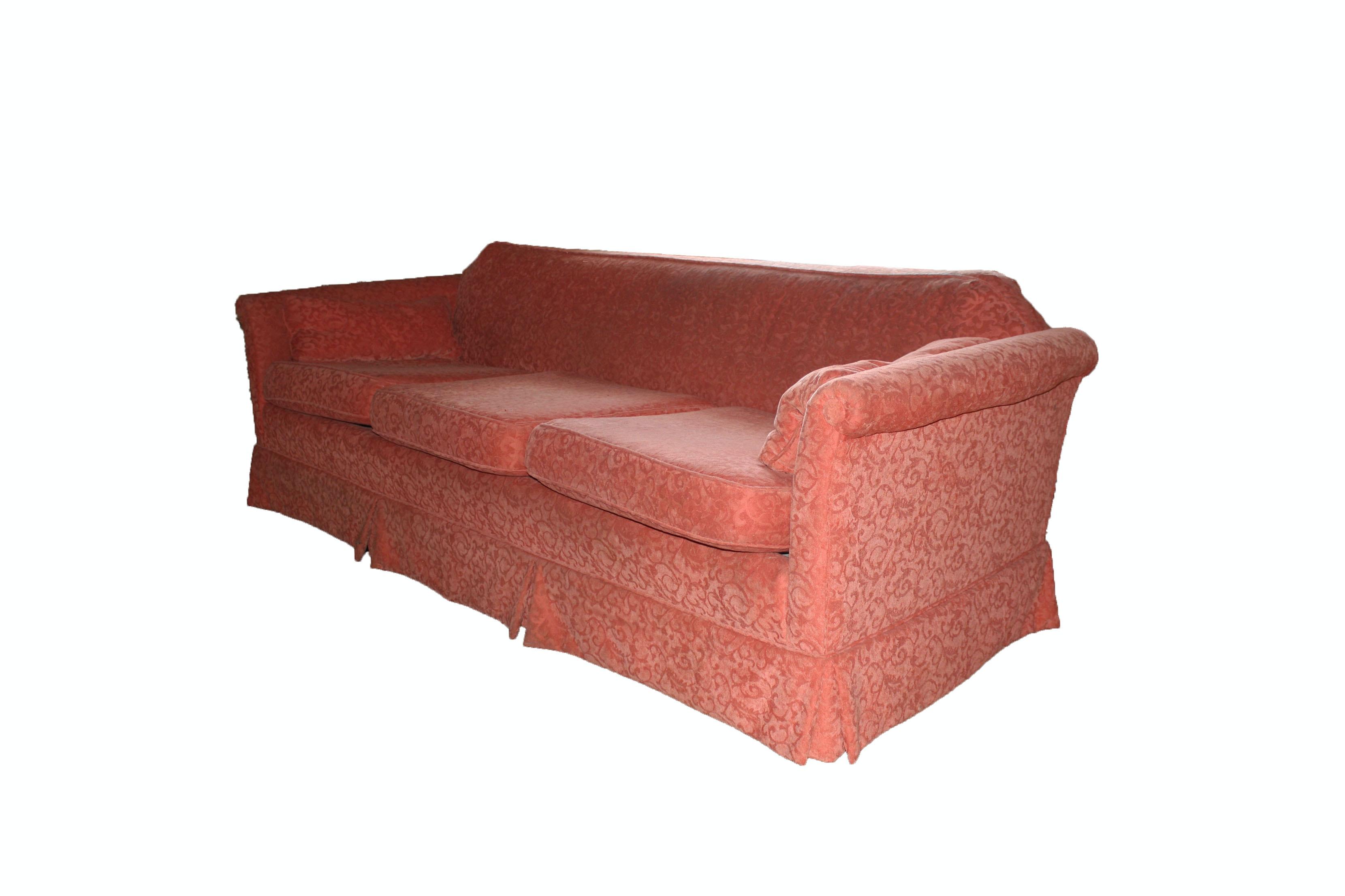 Coral Damask Upholstered Sofa