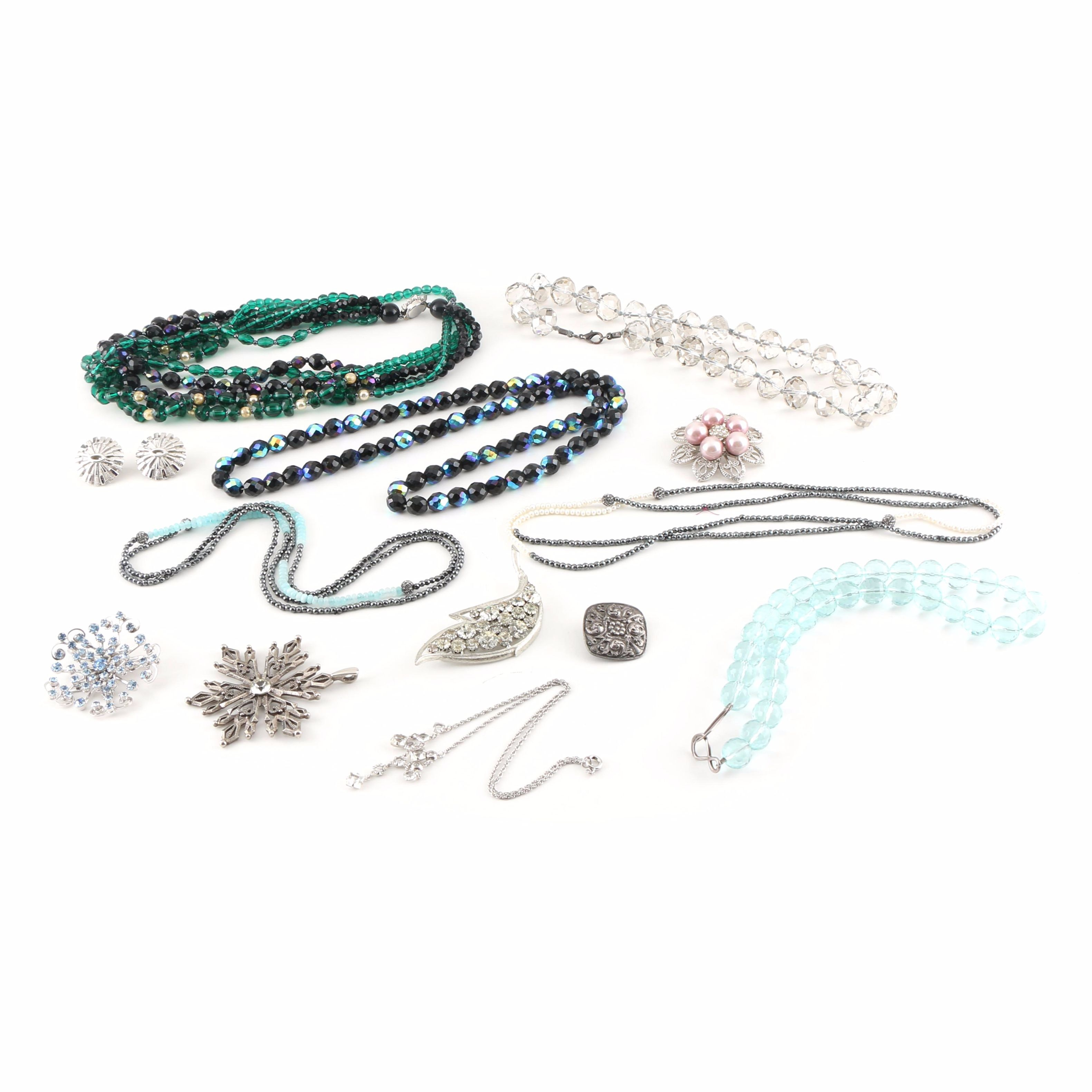 Collection of Costume Jewelry Including Gemstones and Sterling Silver