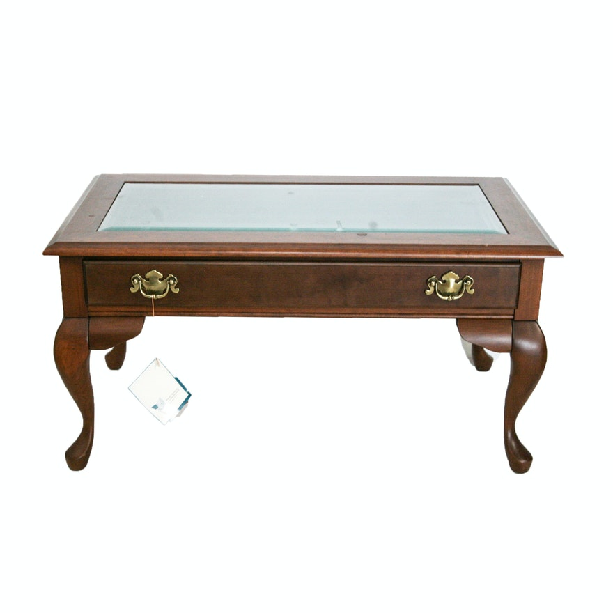 Vintage Queen Anne Style Cherry Display Coffee Table By