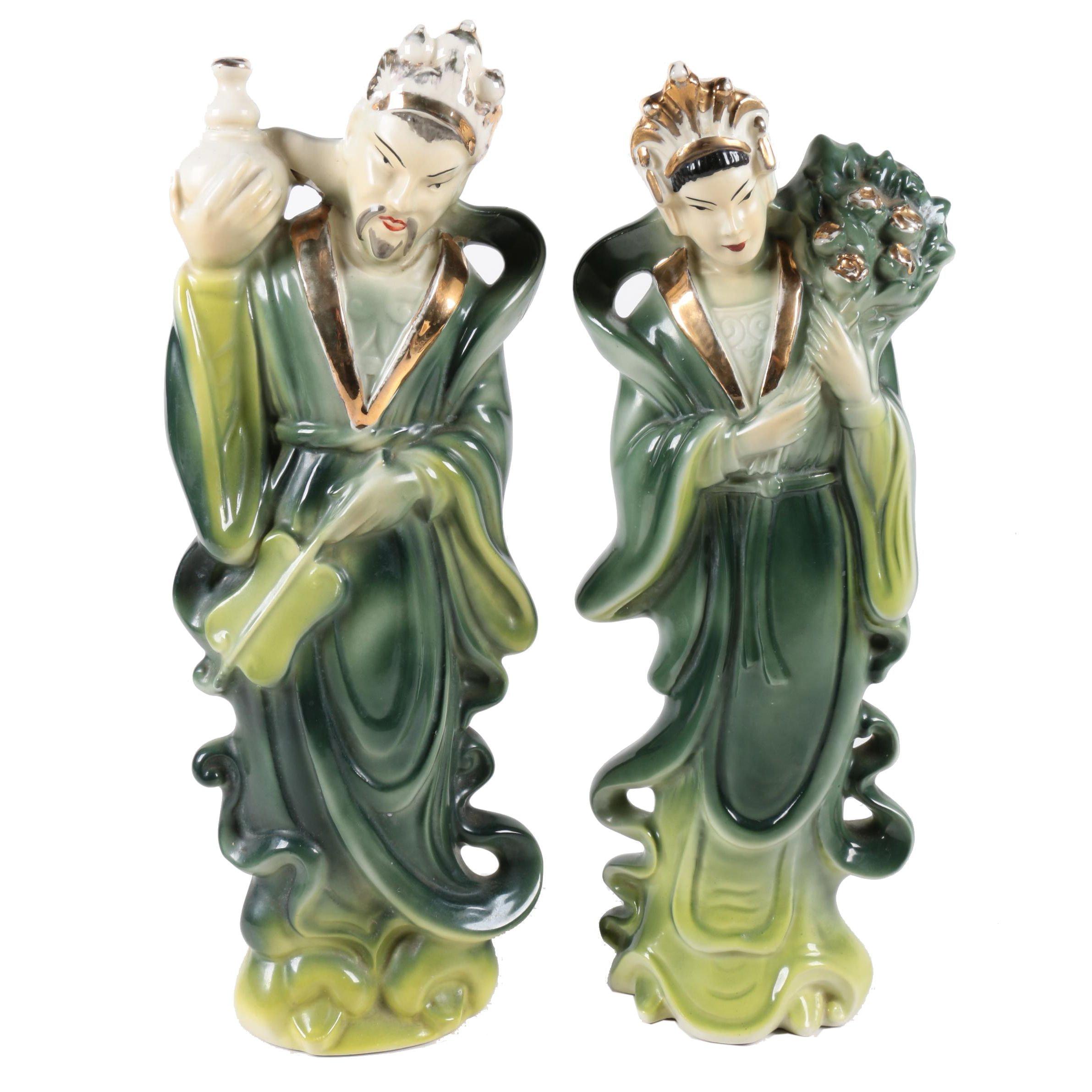 Asian Motif Ceramic Figurines