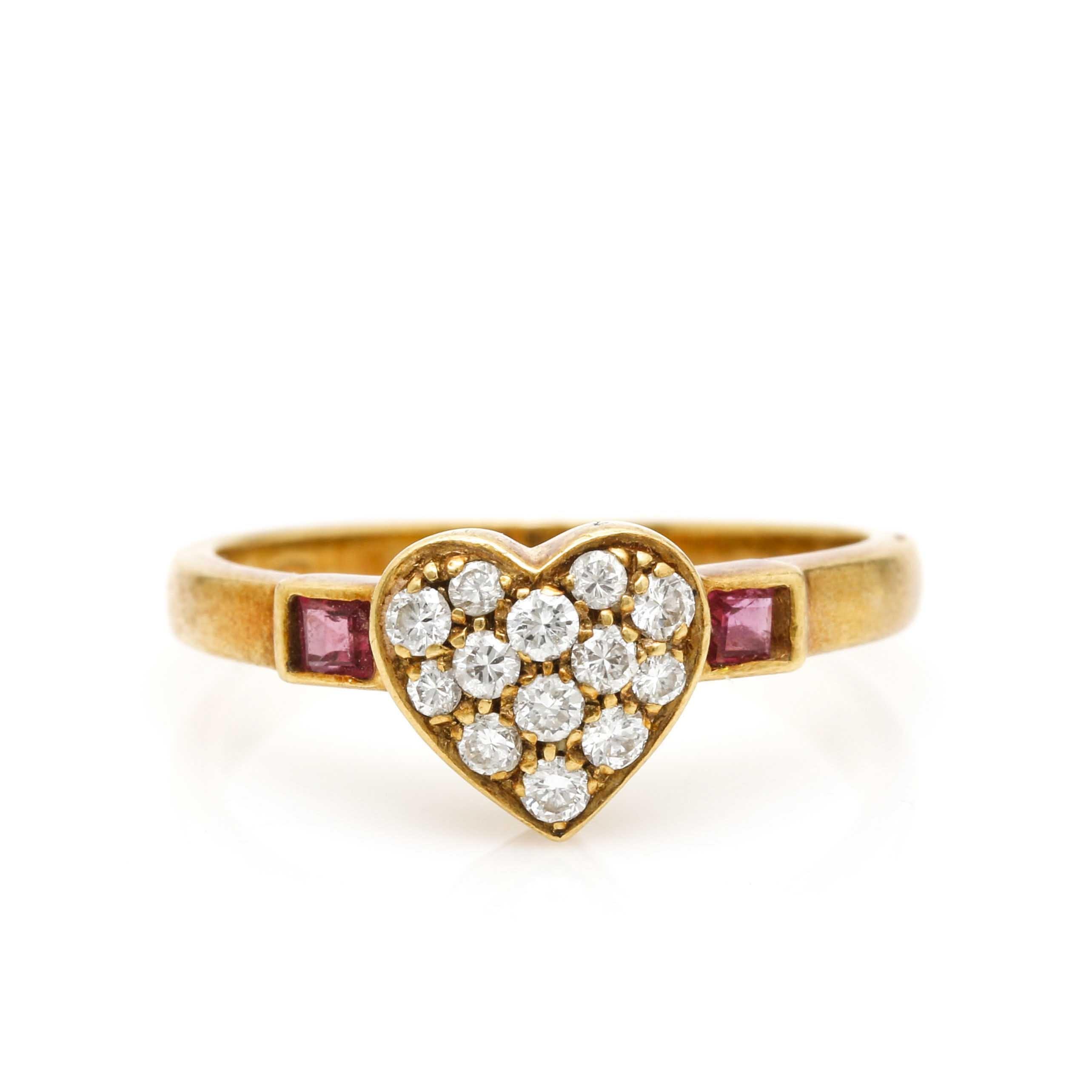 10K Yellow Gold Diamond and Ruby Heart Ring EBTH