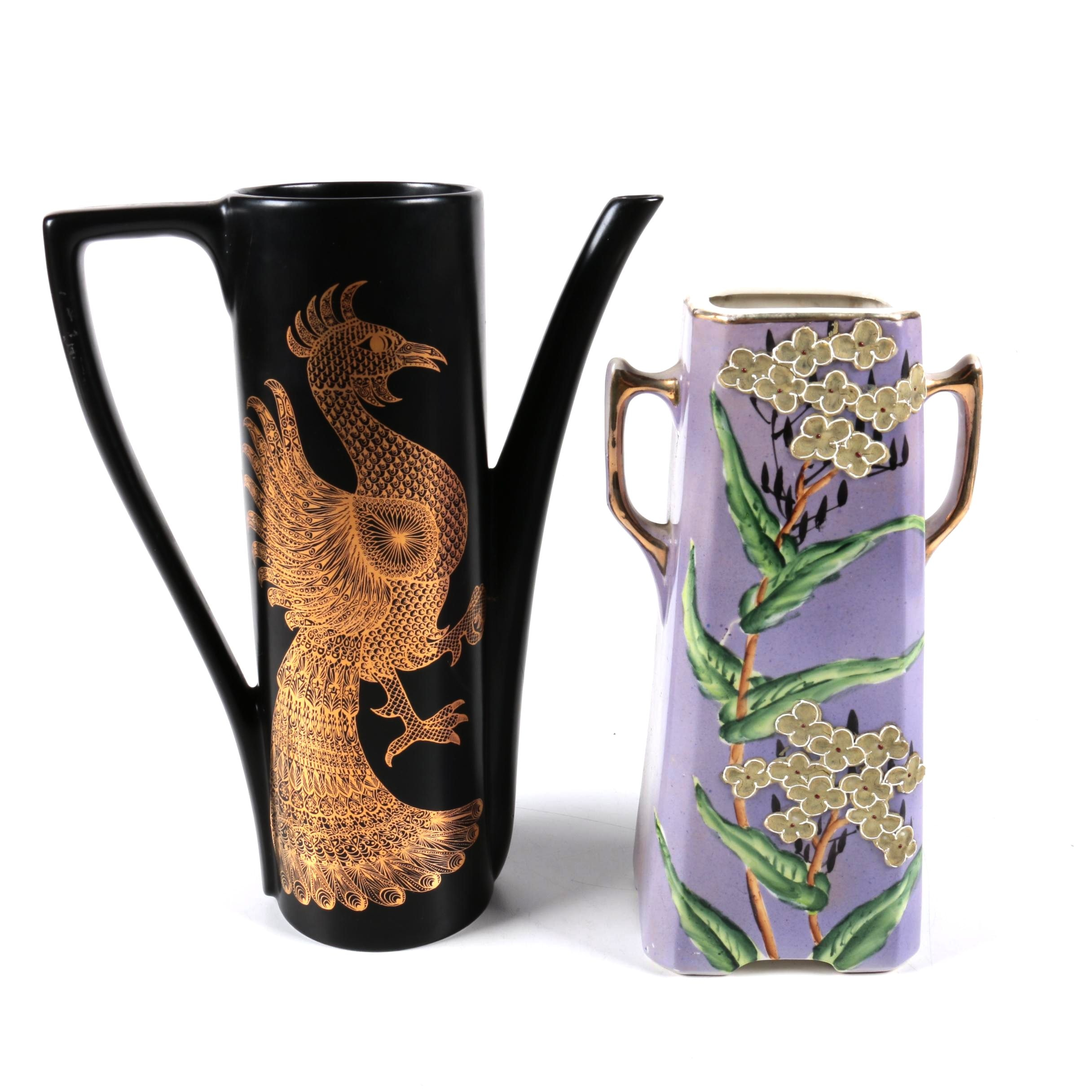 "Portmeirion ""Phoenix"" Coffee Pot and Royal Nippon Moriage Urn"