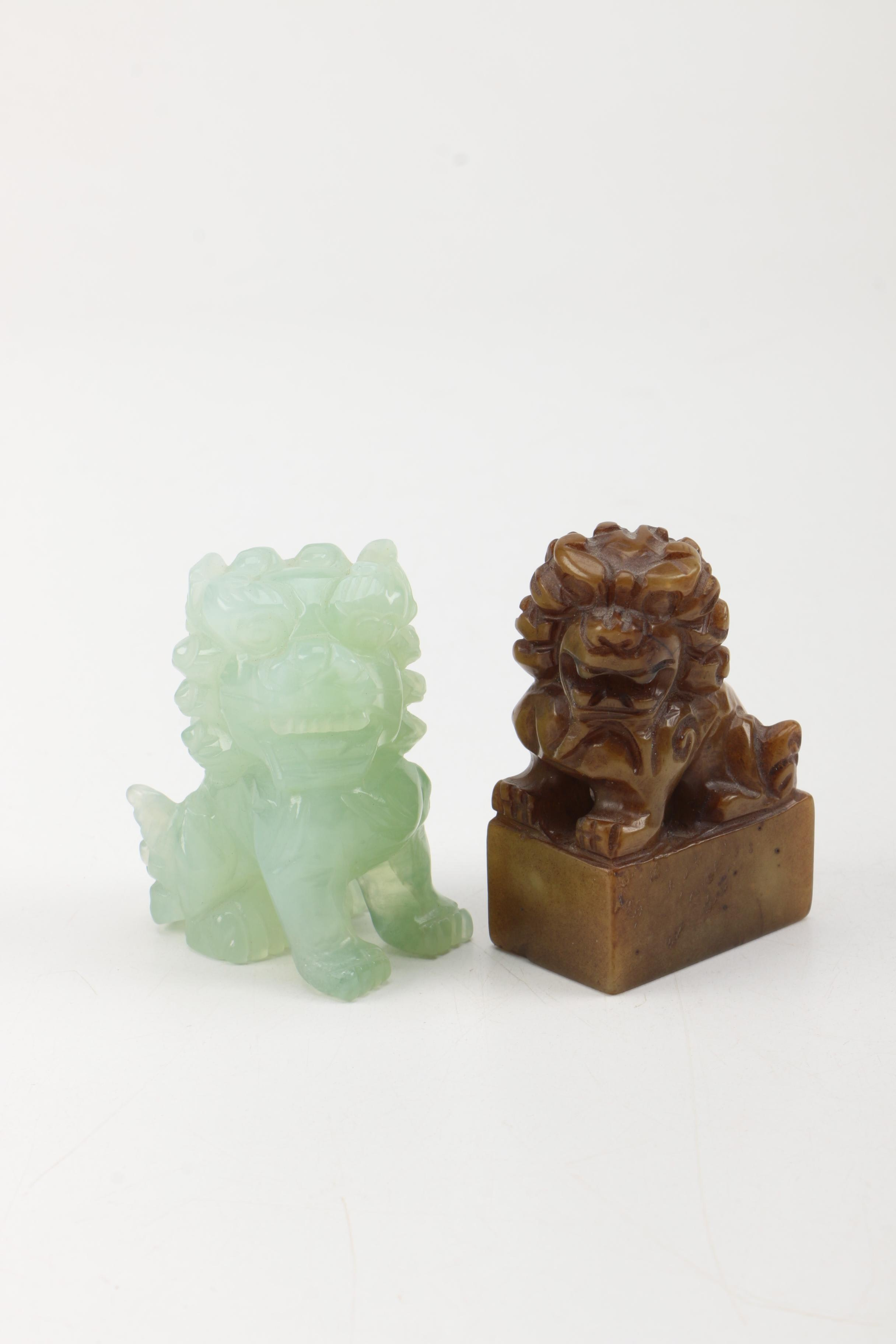 Pair of Guardian Lion Figurines