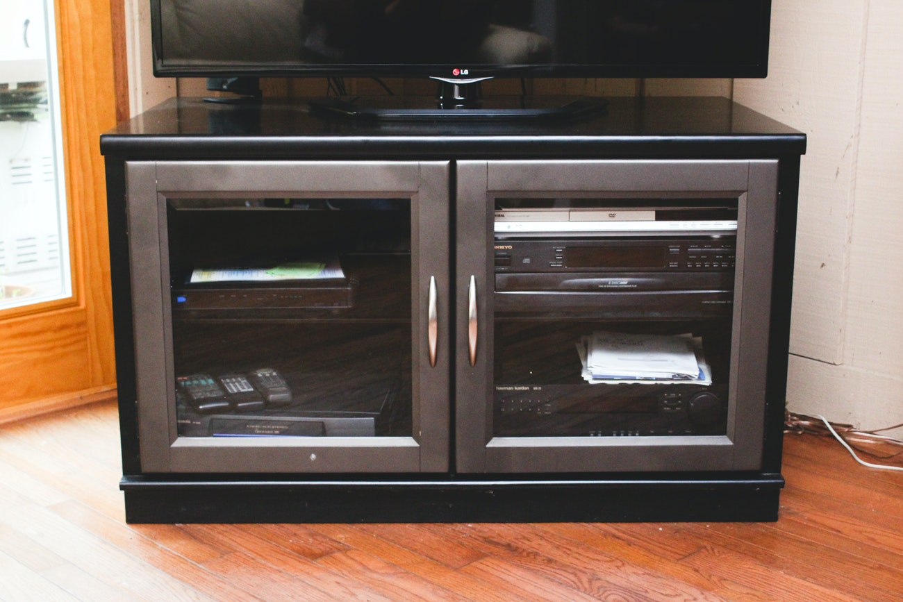 Black and Silver Entertainment Cabinet