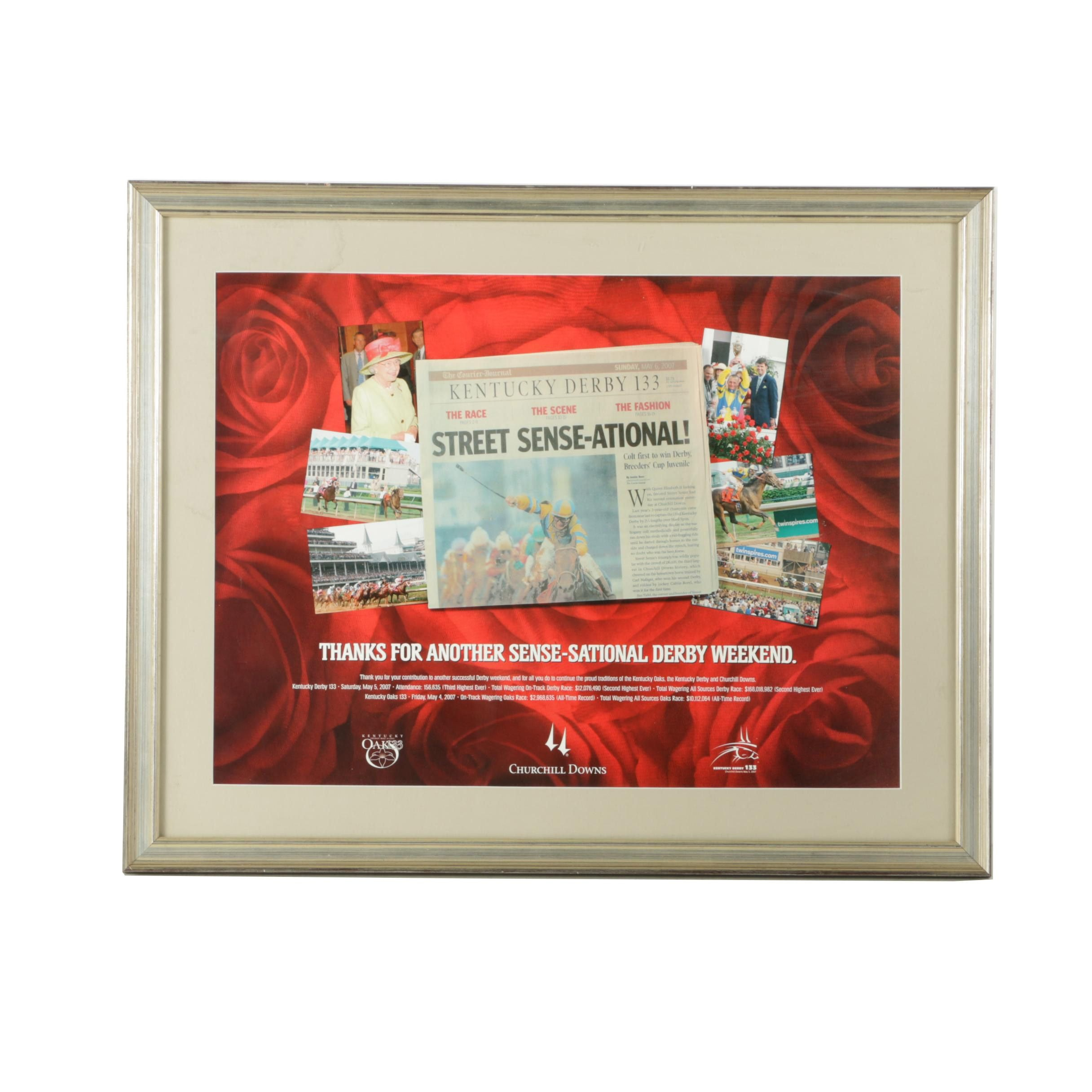 Commemorative 2007 Kentucky Derby and Oaks Poster in Frame