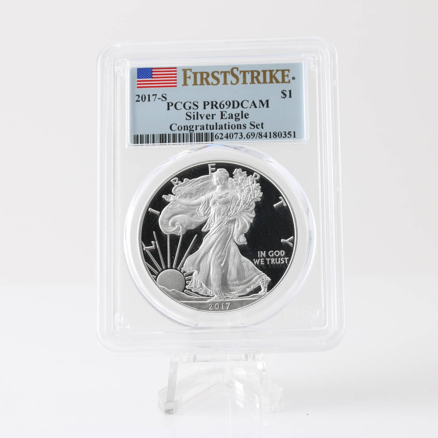 Graded PR69 DCAM (By PCGS) 2017-S One Dollar U.S. Silver Eagle