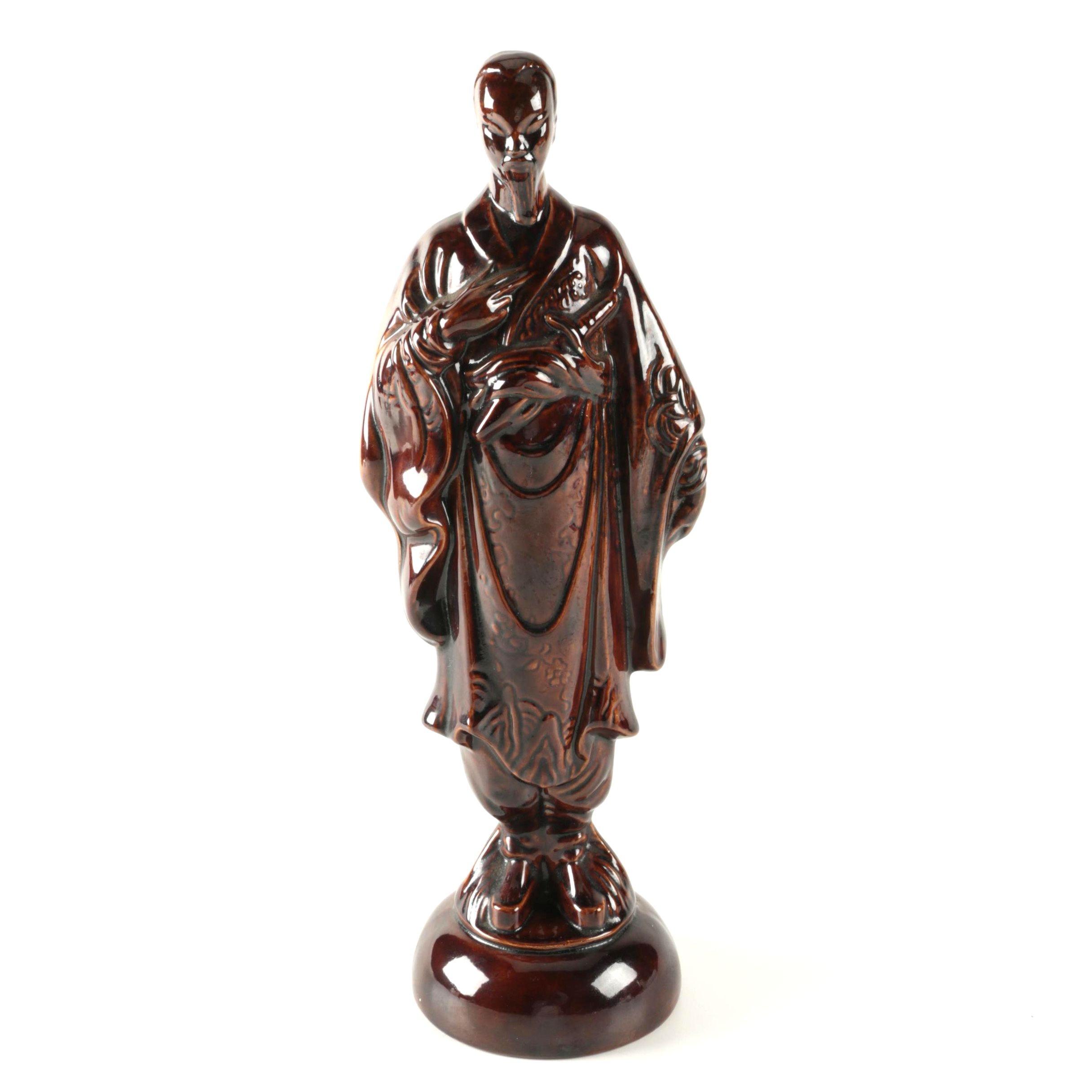 East Asian Inspired Glazed Ceramic Figure