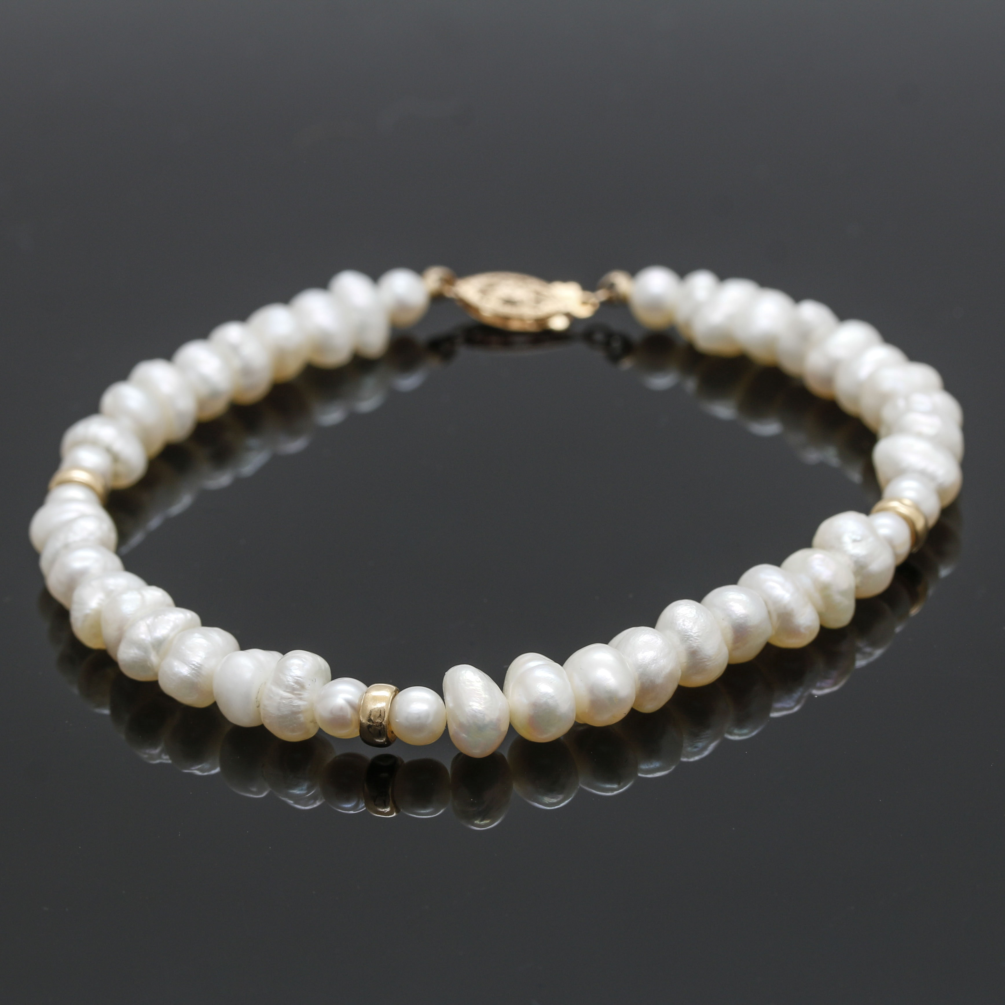 Cultured Pearl Bracelet With 14K Yellow Gold Accents