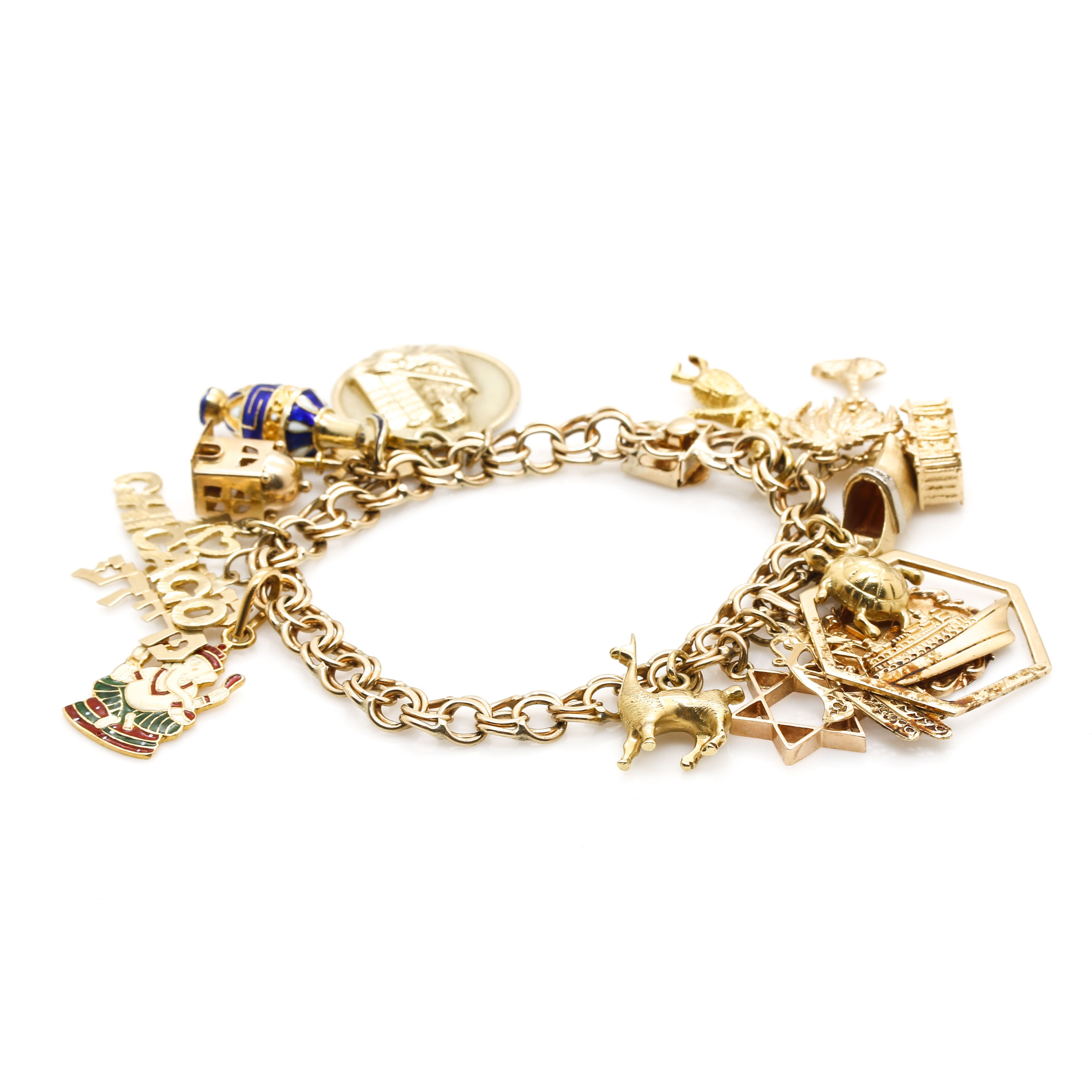 14K Yellow Gold Charm Bracelet With Mixed Gold Charms