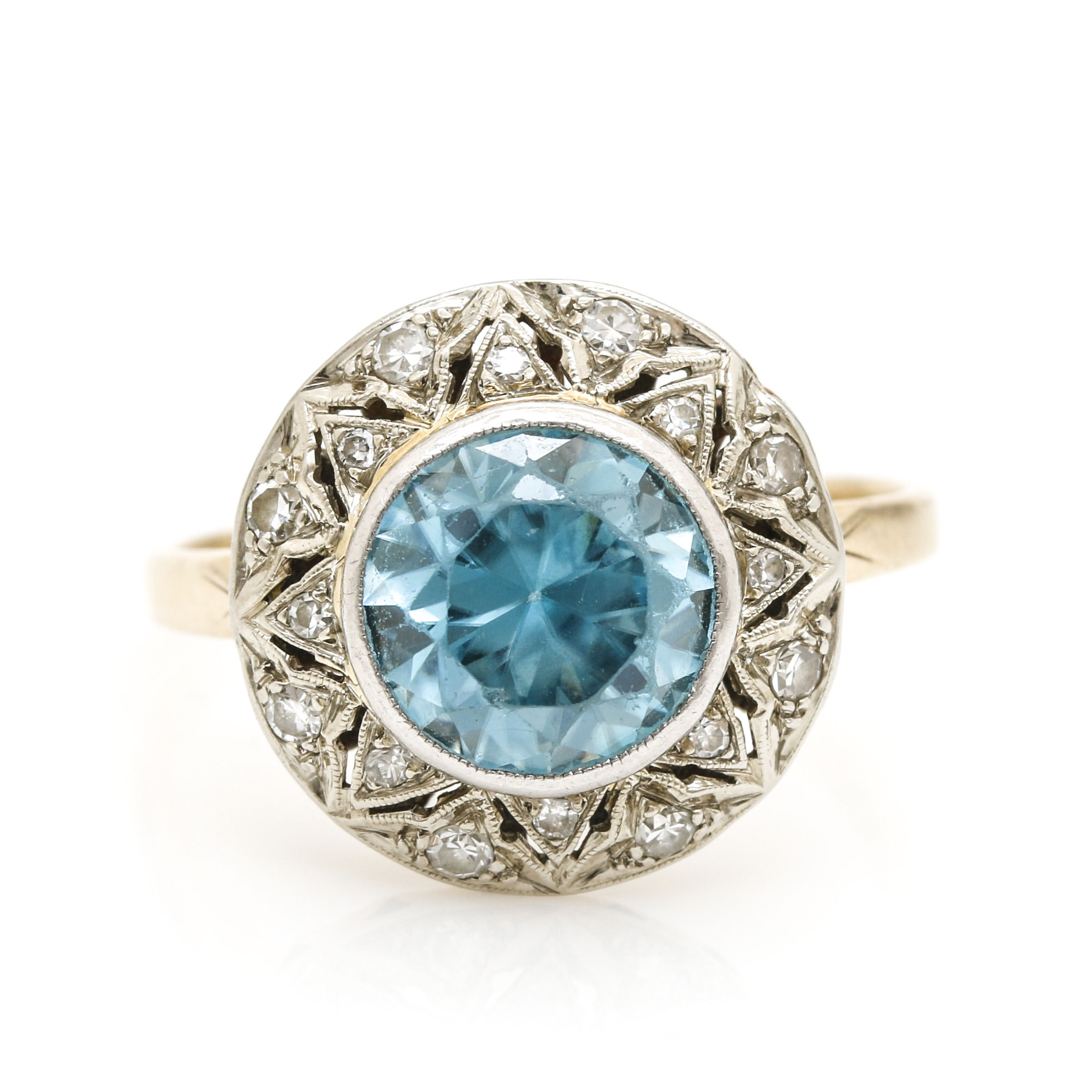 Platinum and 14K Yellow Gold Blue Zircon and Diamond Ring