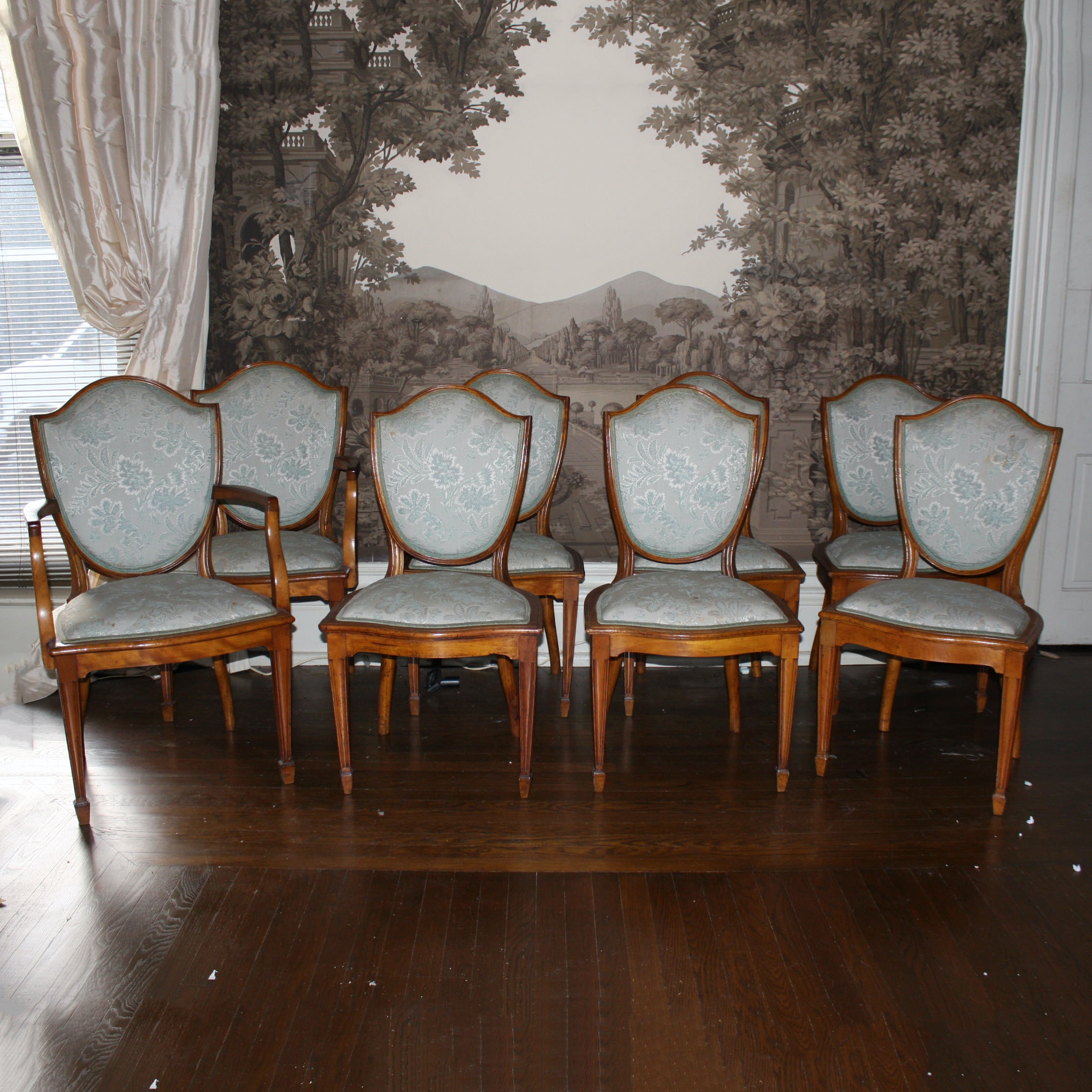 Eight Antique English Sheraton Style Satinwood Dining Chairs