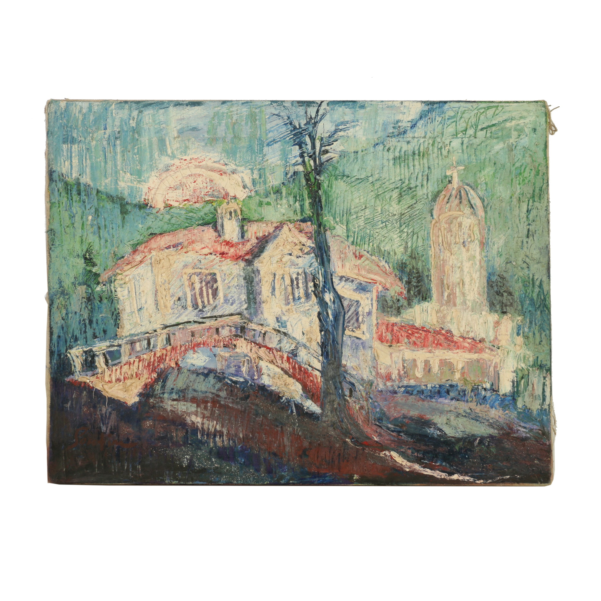 Oil Painting on Canvas Landscape In The Manner of Chaim Soutine