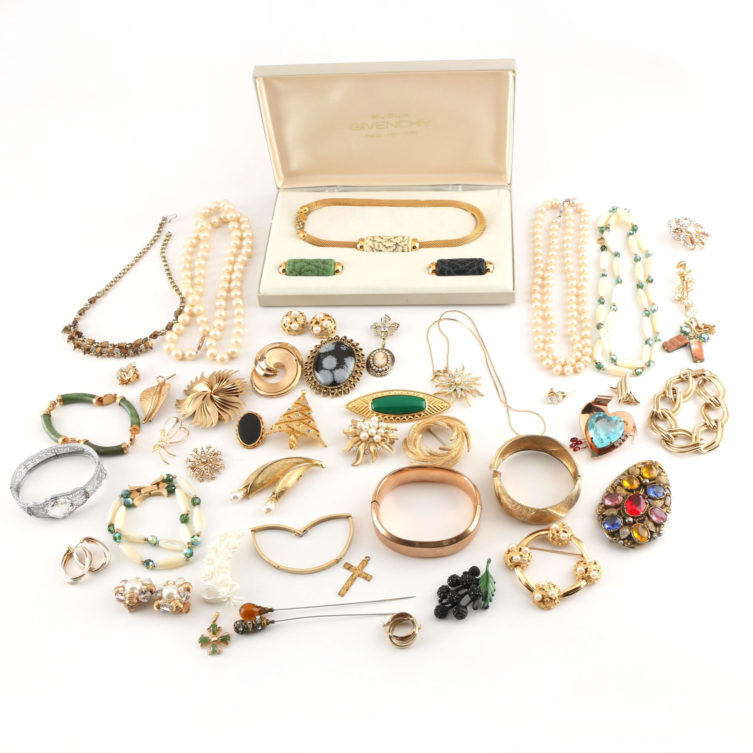 Assortment of Vintage Costume Jewelry Including Givenchy and Coro