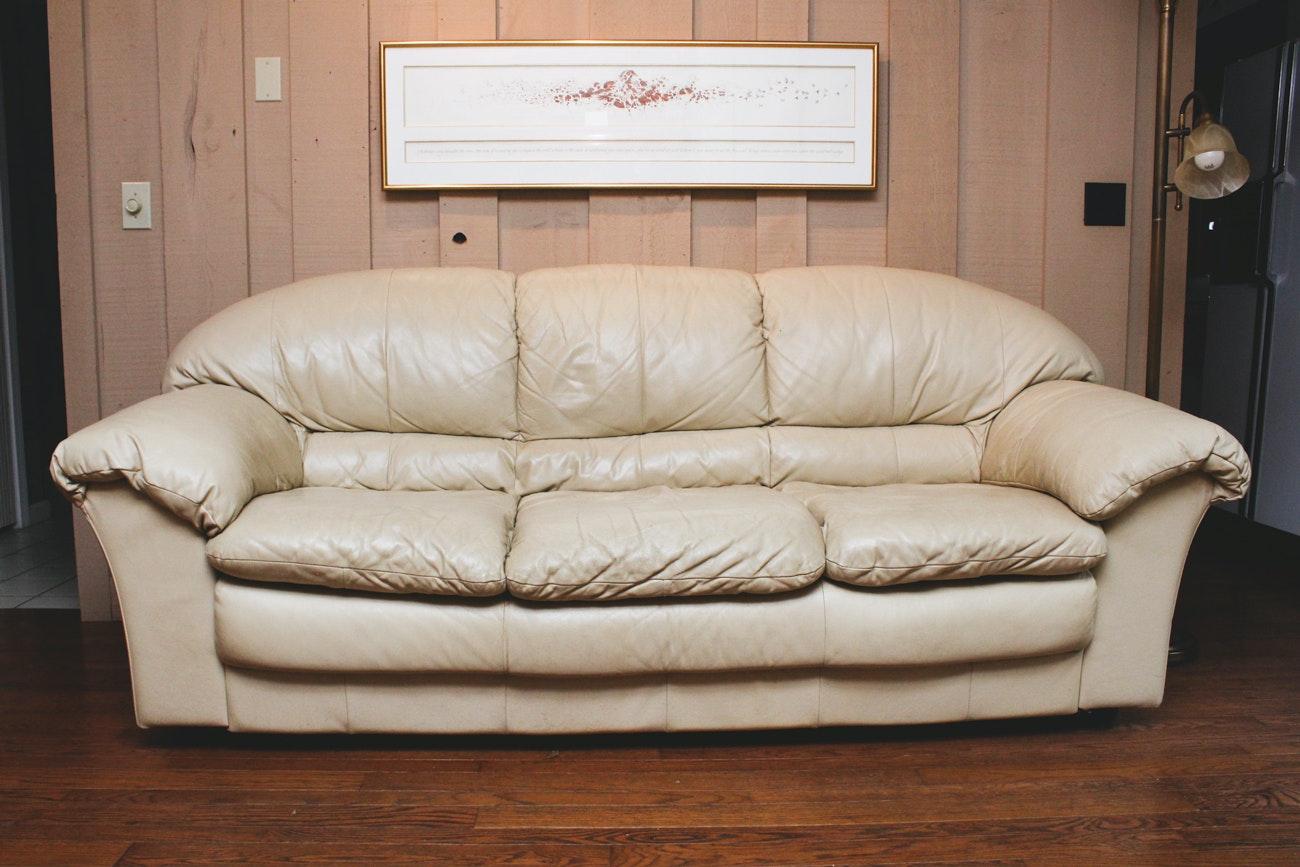 White Leather Henredon Sofa and Armchair