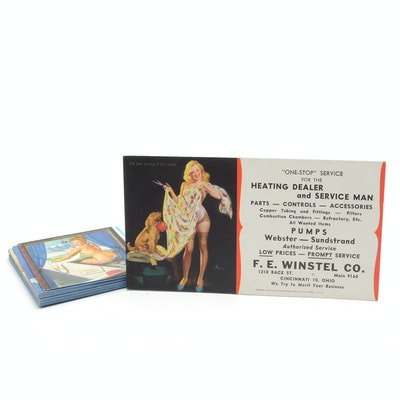 Antique collectible auctions vintage collectible auction in mid twelve varying vintage pin up girl heating business cards colourmoves Choice Image